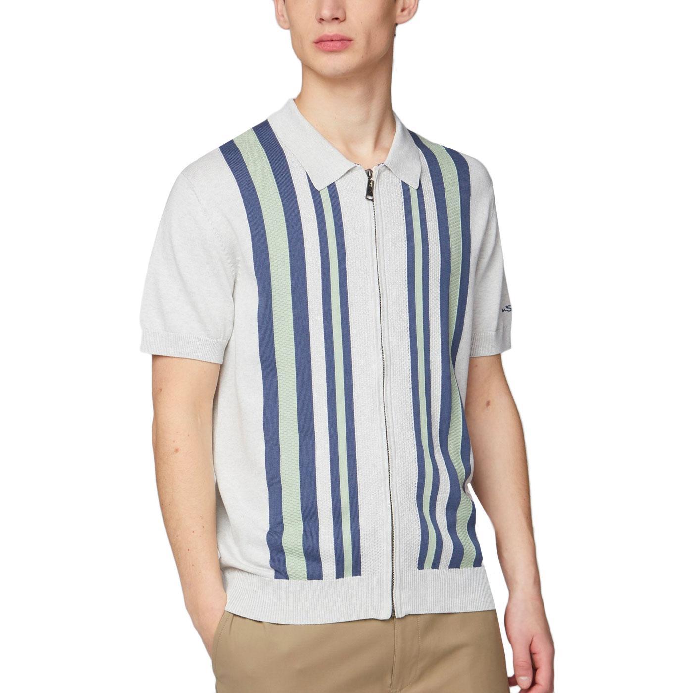 BEN SHERMAN Mod Textured Stripe Zip Knit Polo (SW)