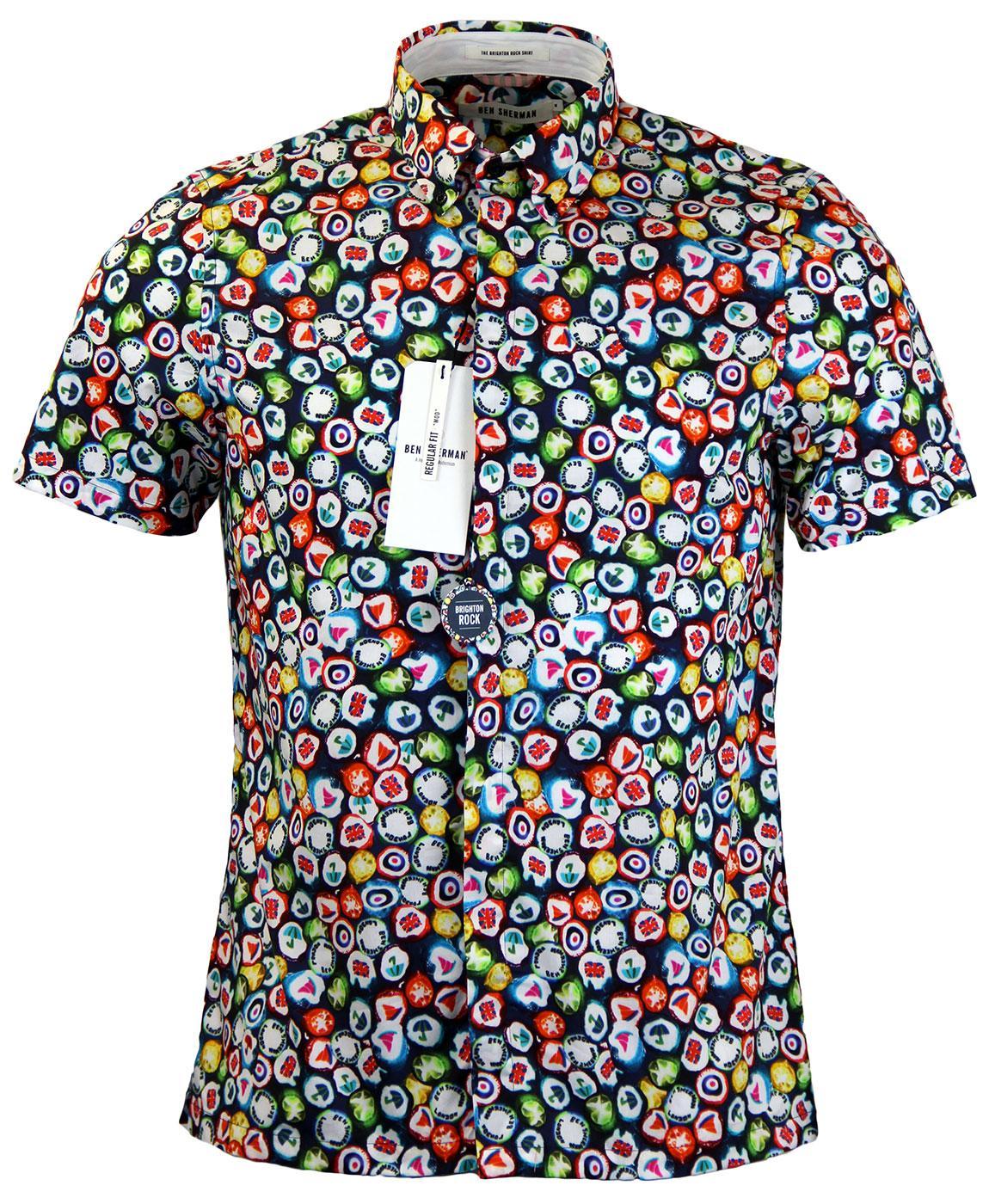 Ben sherman retro 60s mod brighton rock print s s shirt in for Brighton t shirt printing