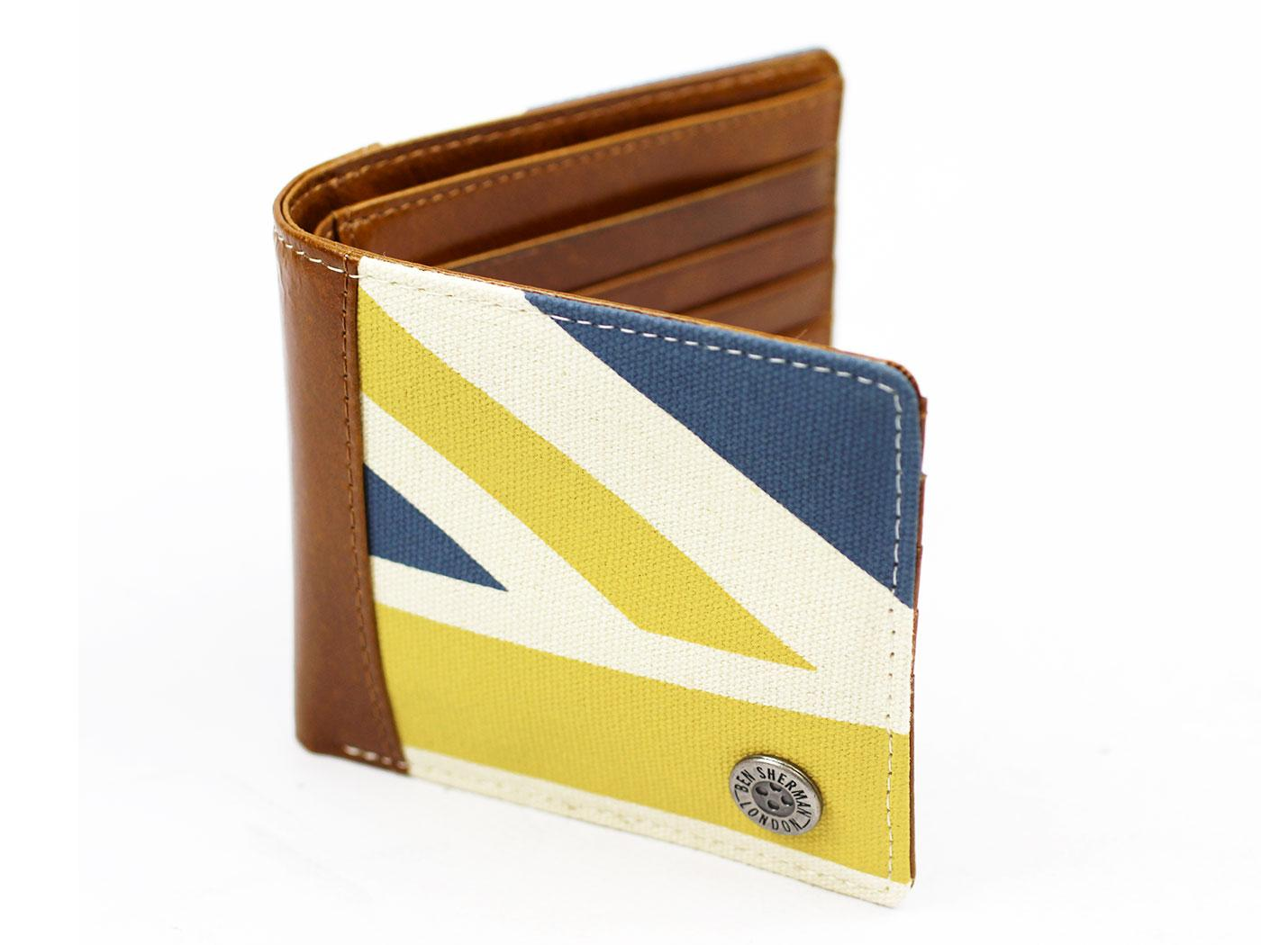 BEN SHERMAN Union Jack Mod Canvas/Leather Wallet C