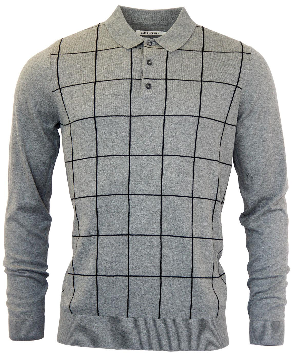 BEN SHERMAN Retro Window Pane Check Mod Polo