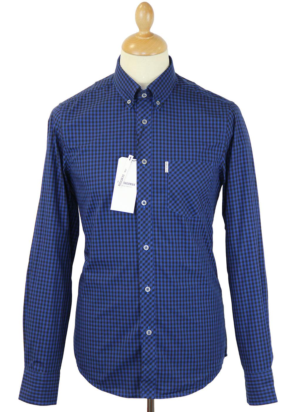 BEN SHERMAN Retro 60s Mod Gingham L/S Shirt (DB)