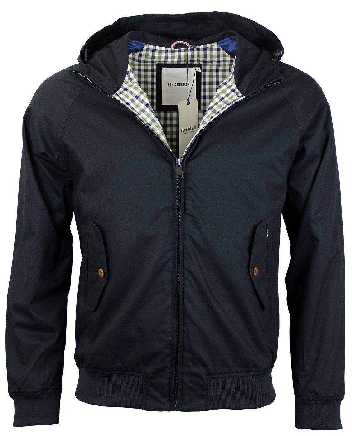 ben sherman retro mod check lined hooded harrington jacket navy. Black Bedroom Furniture Sets. Home Design Ideas