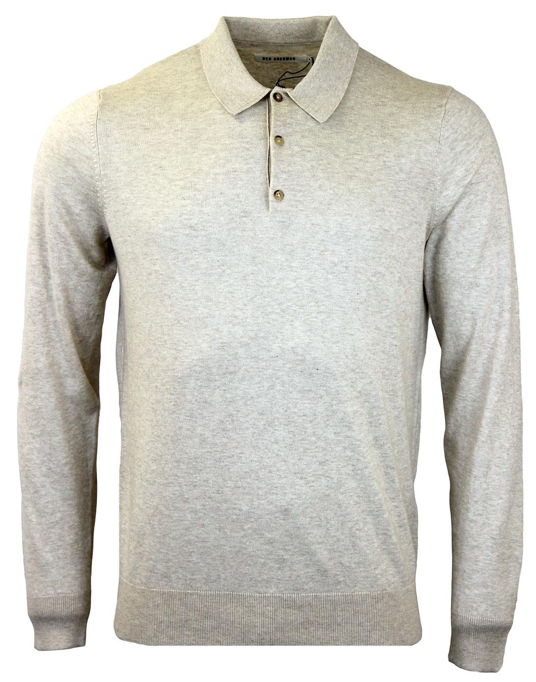 BEN SHERMAN Retro Mod Long Sleeve Knitted Polo SM