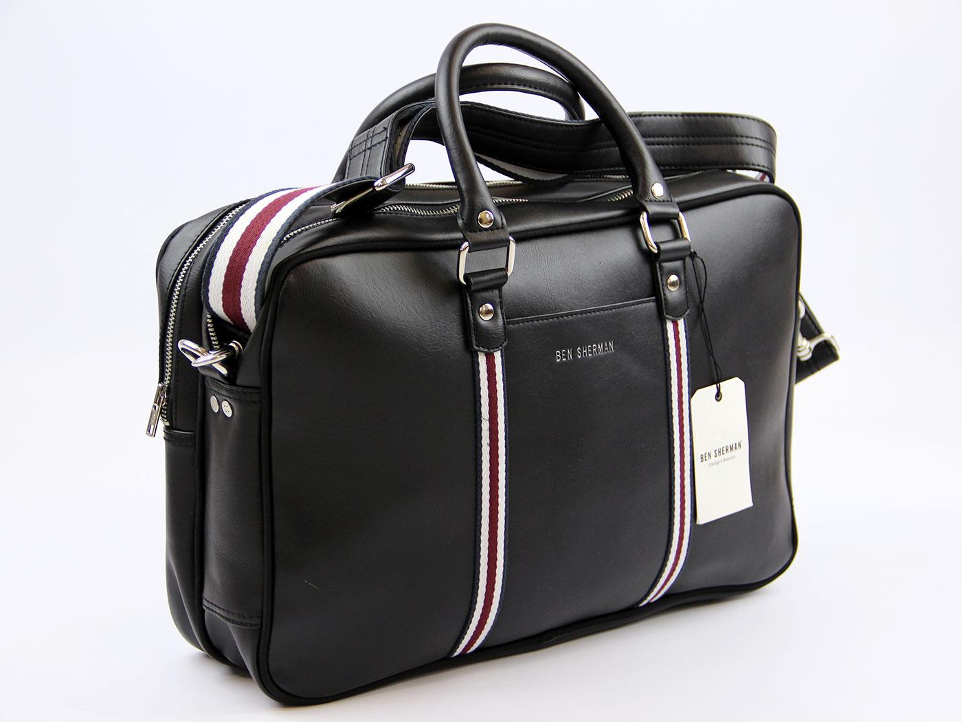 BEN SHERMAN Retro Mod Racing Stripe PU Holdall (B)