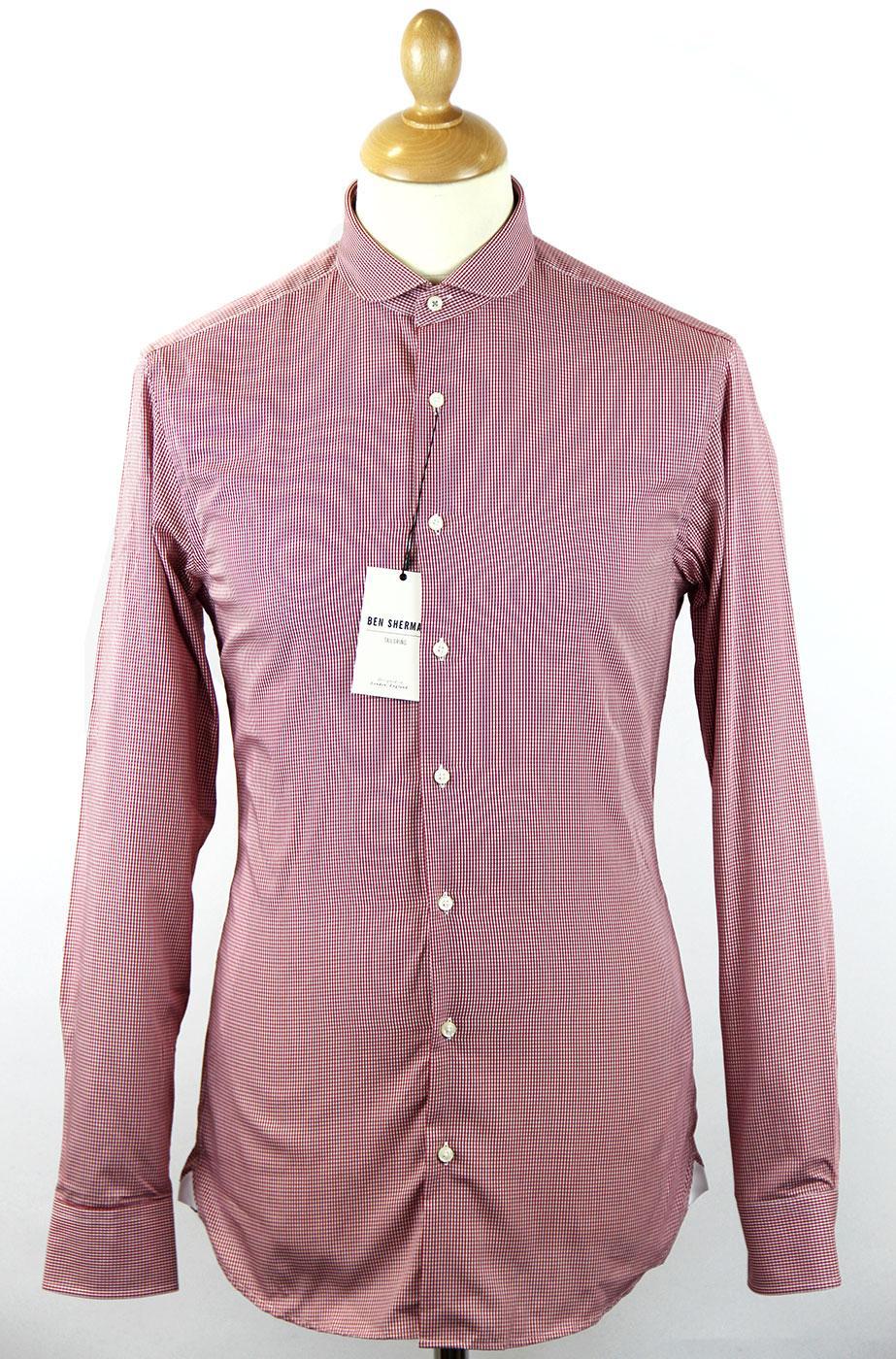 Ben Sherman Retro Mod Tailored Gingham Penny Collar Shirt Red
