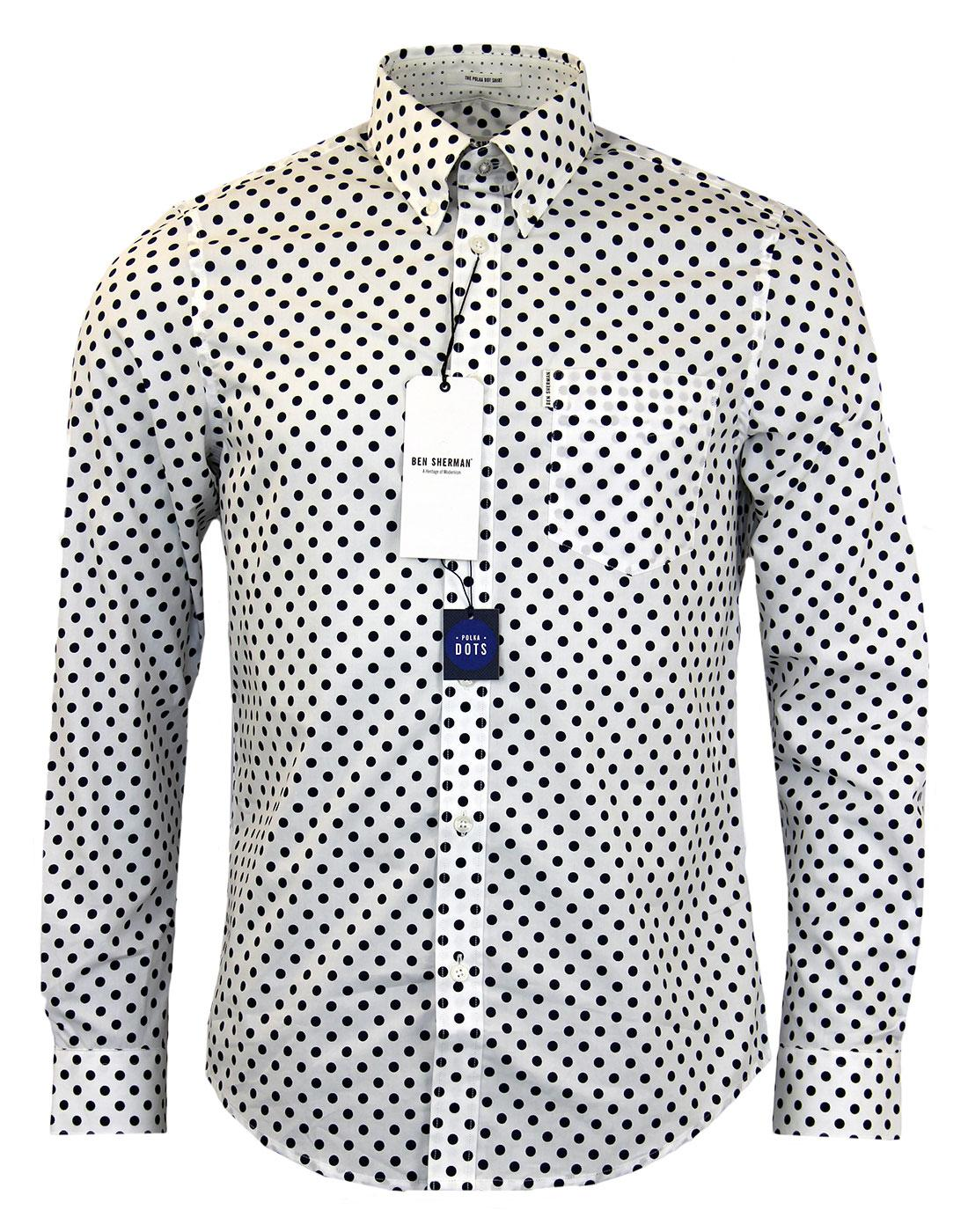 BEN SHERMAN 60s Mod Off White Polka Dot Shirt