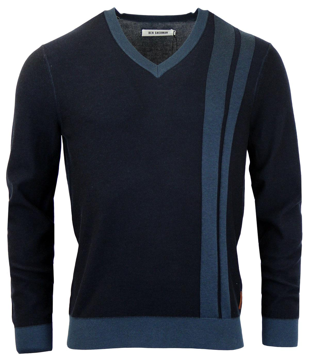 BEN SHERMAN Retro Mod Plaited V-Neck Racing Jumper
