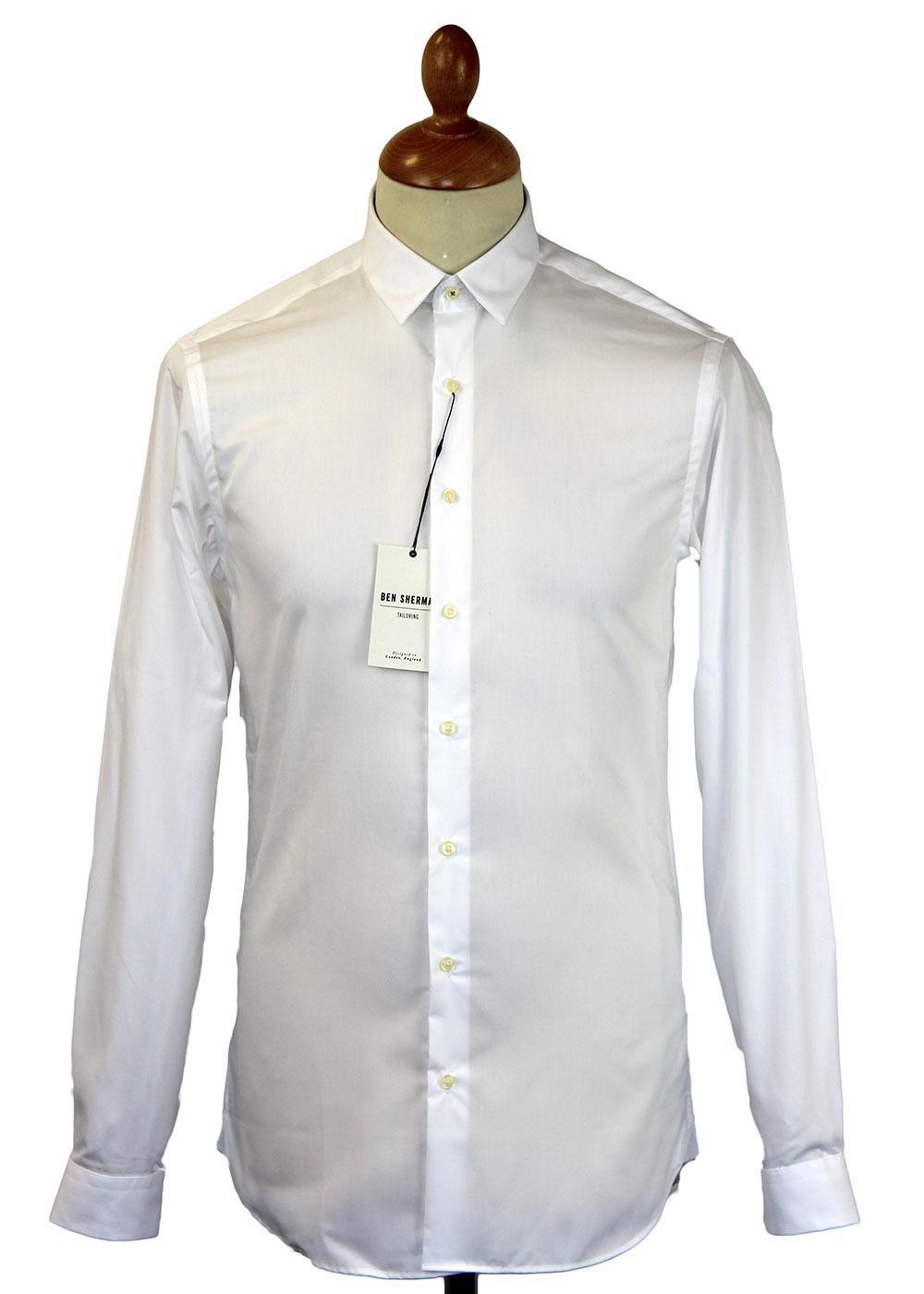 Ben Sherman Tailoring Retro 60s Mod Bluff Collar Shirt White