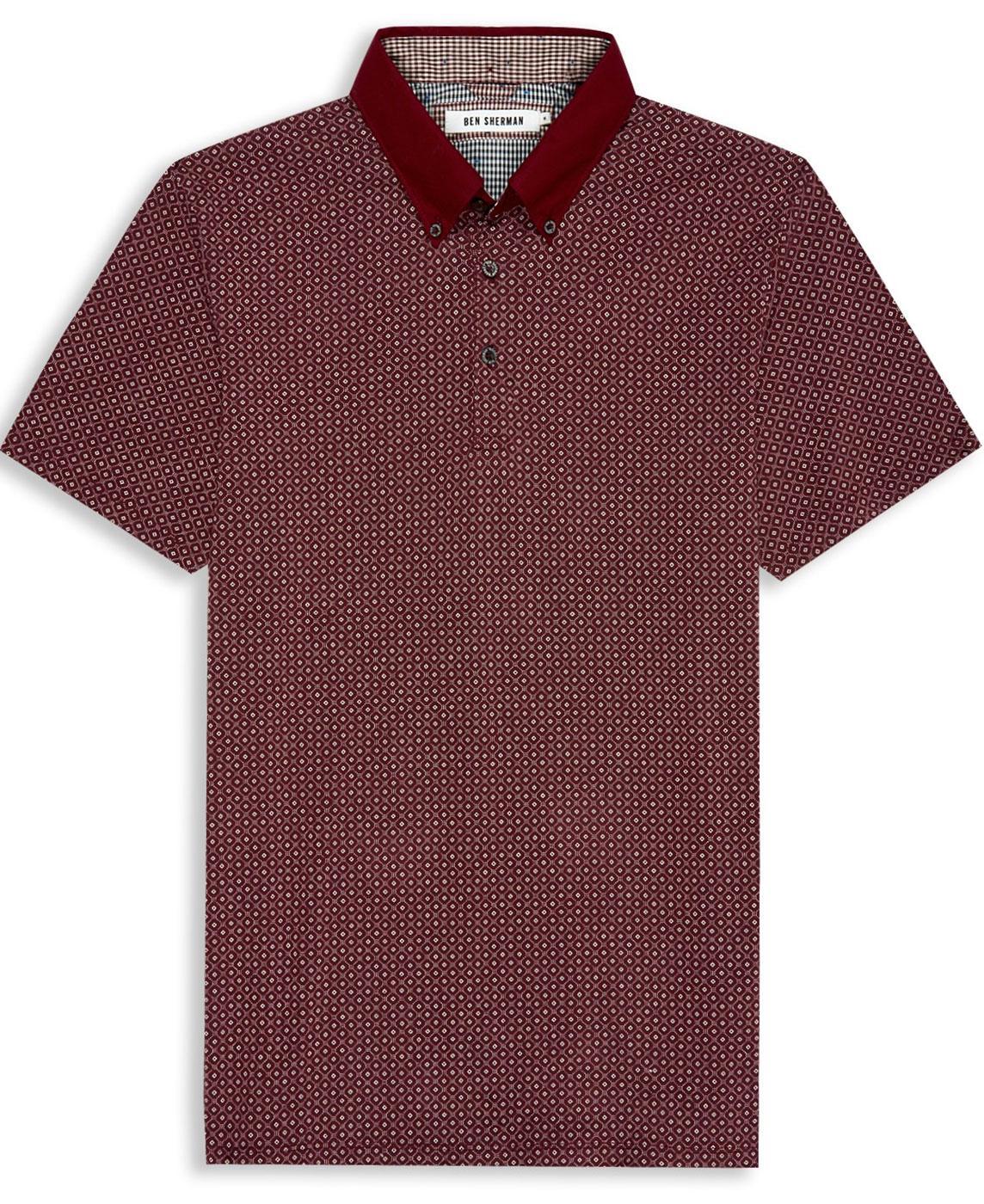 ben sherman retro mod geometric tile print polo shirt in port. Black Bedroom Furniture Sets. Home Design Ideas