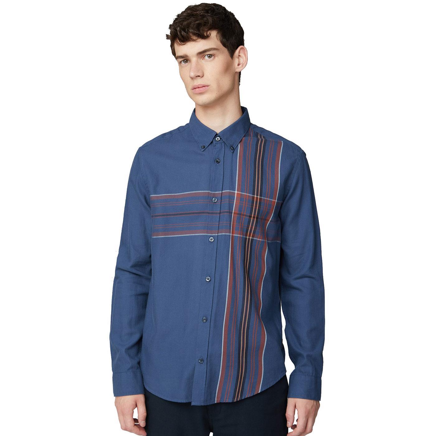 BEN SHERMAN Retro Mod Placed Stripe Plaid Shirt DB