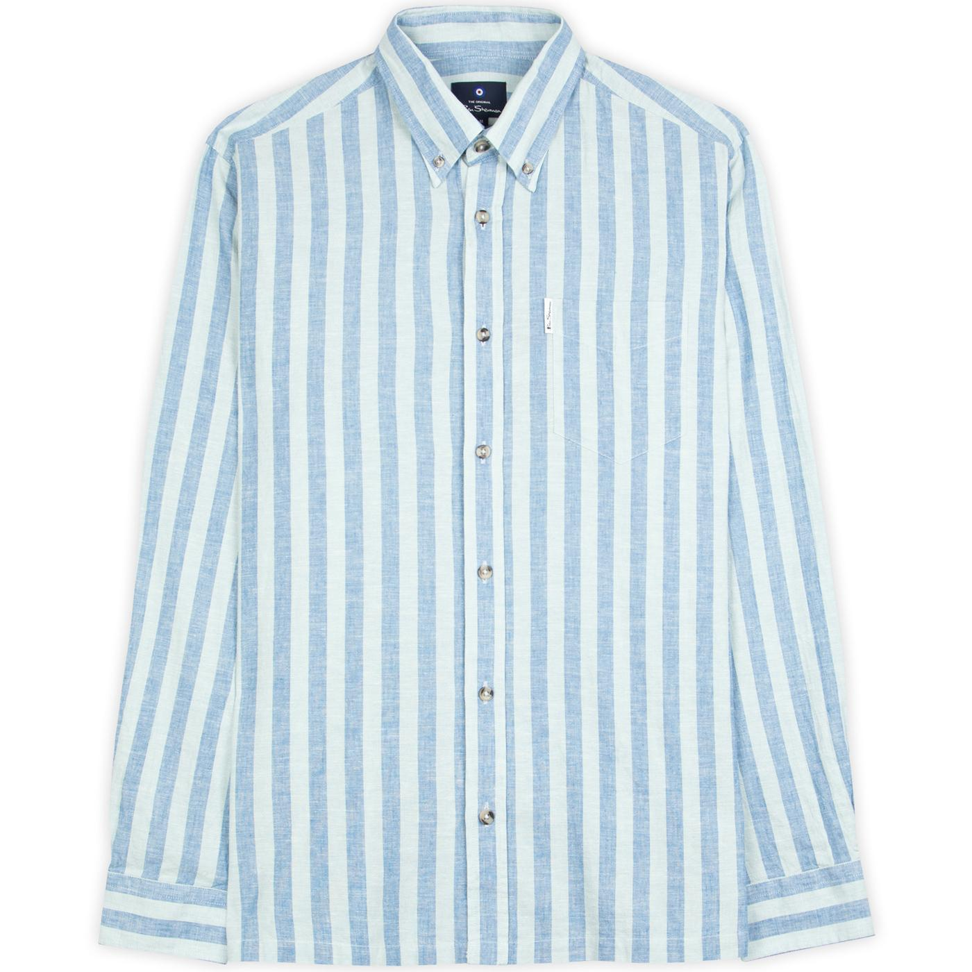 BEN SHERMAN 60s Mod Linen Jagger Stripe Shirt (LG)
