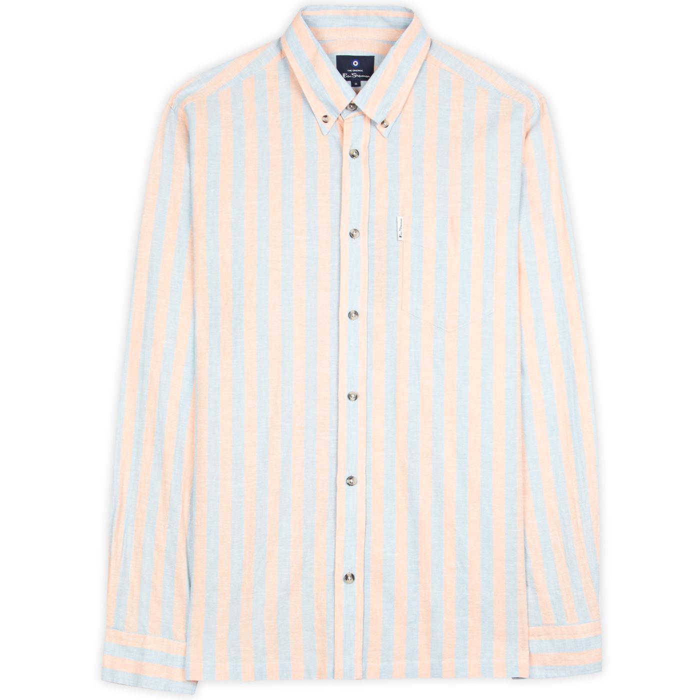 BEN SHERMAN Mod Linen Jagger Stripe Shirt (Peach)