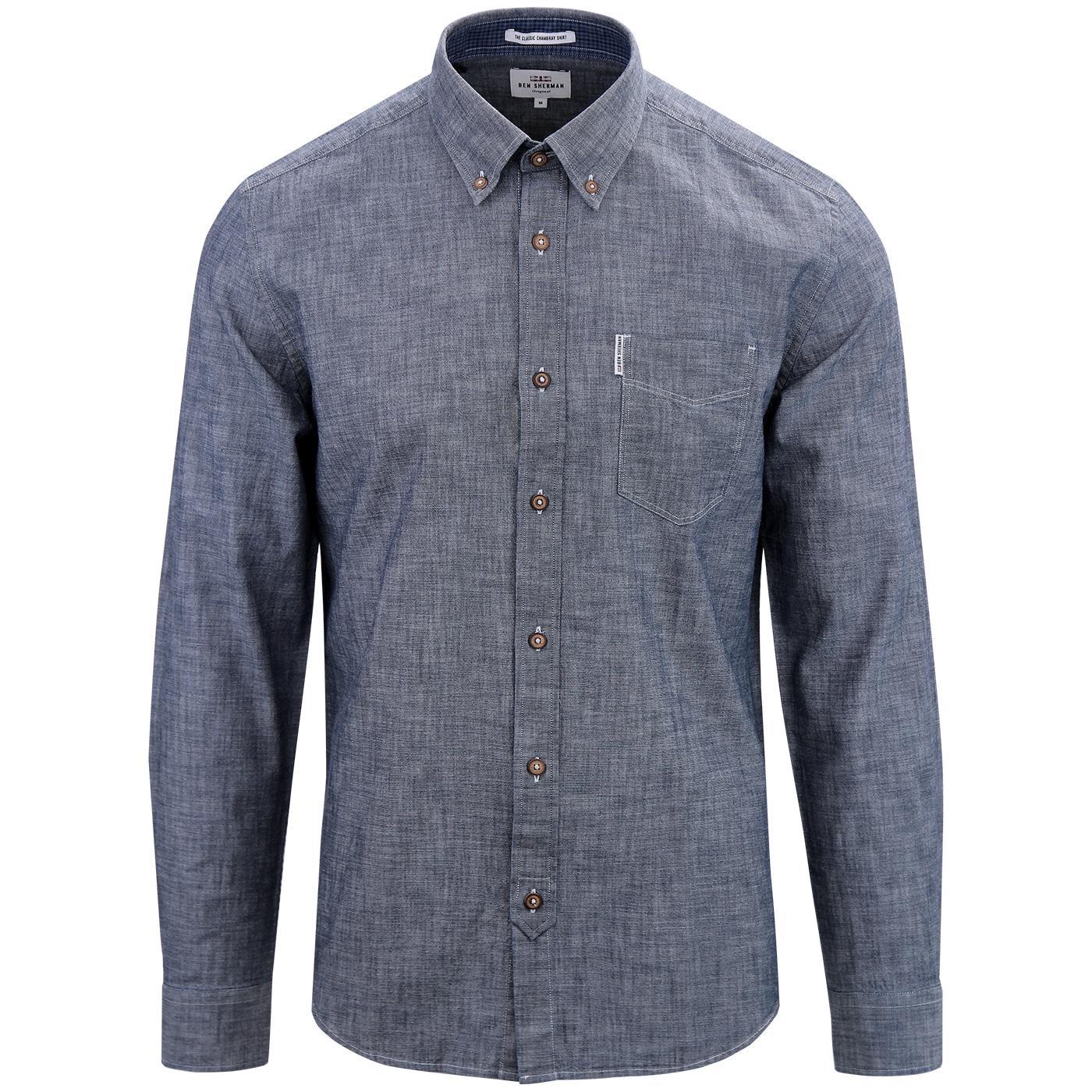 BEN SHERMAN Retro Button Down Chambray Shirt BLUE