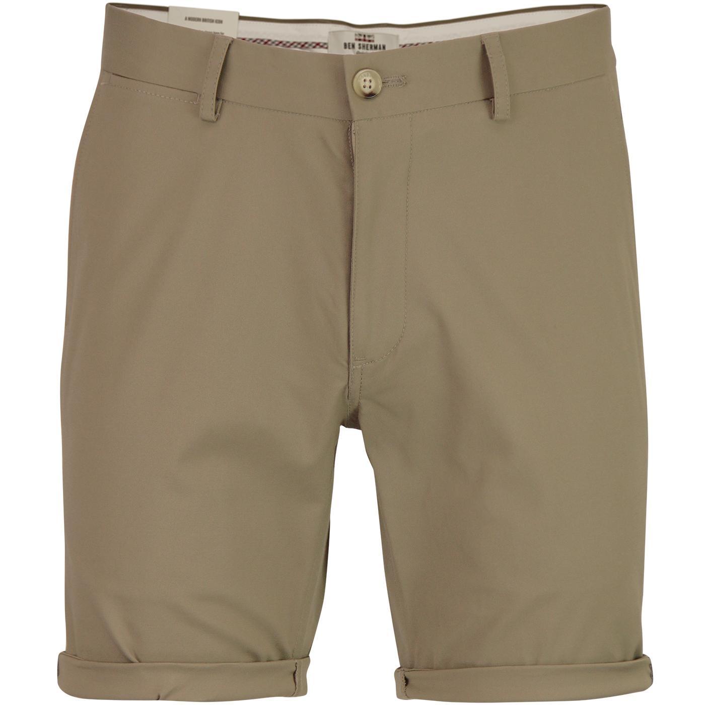 BEN SHERMAN Men's Retro Mod Chino Shorts (Stone)