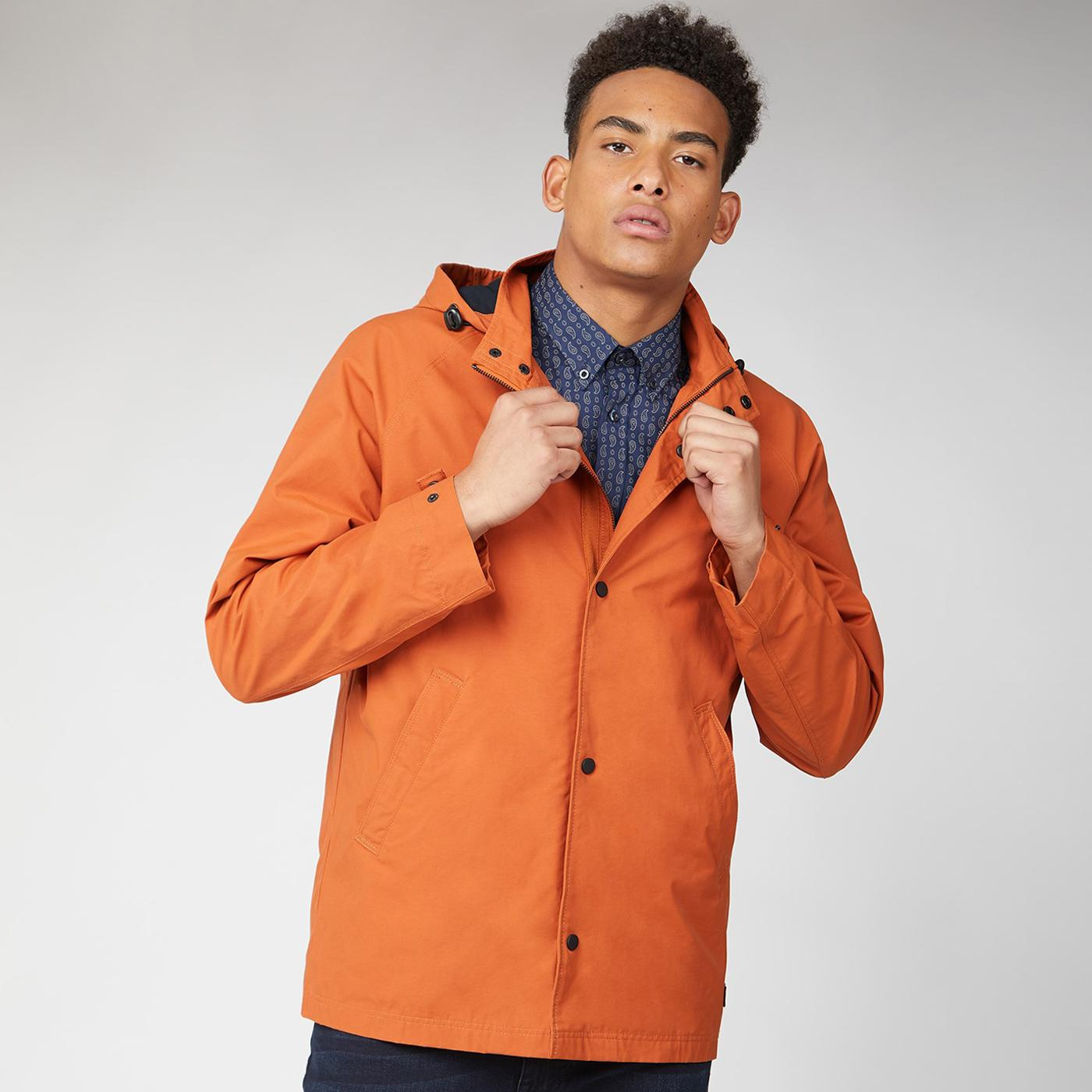 BEN SHERMAN Retro Hooded Coach Jacket BURNT ORANGE