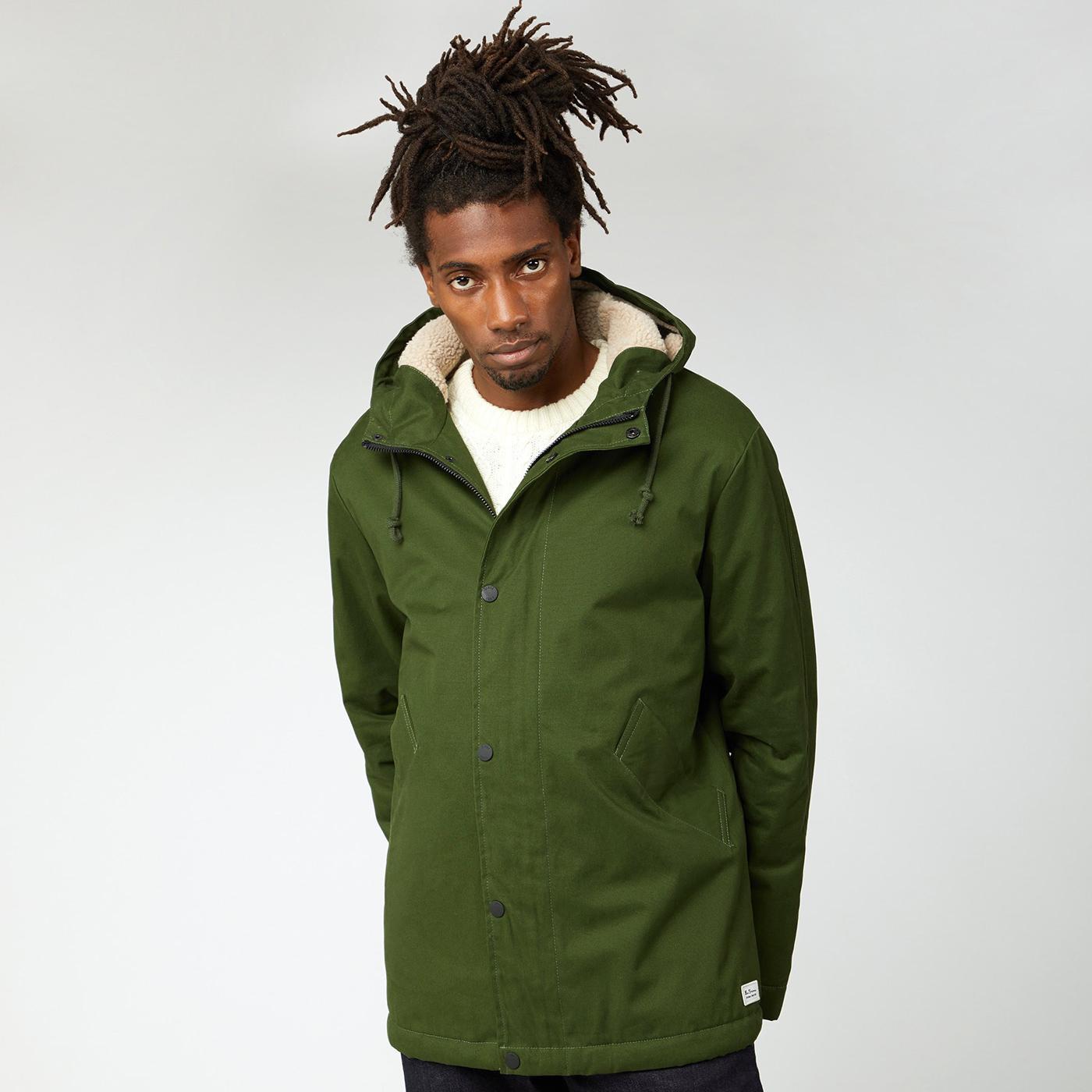 BEN SHERMAN Modern Cropped Sherpa Parka (Green)