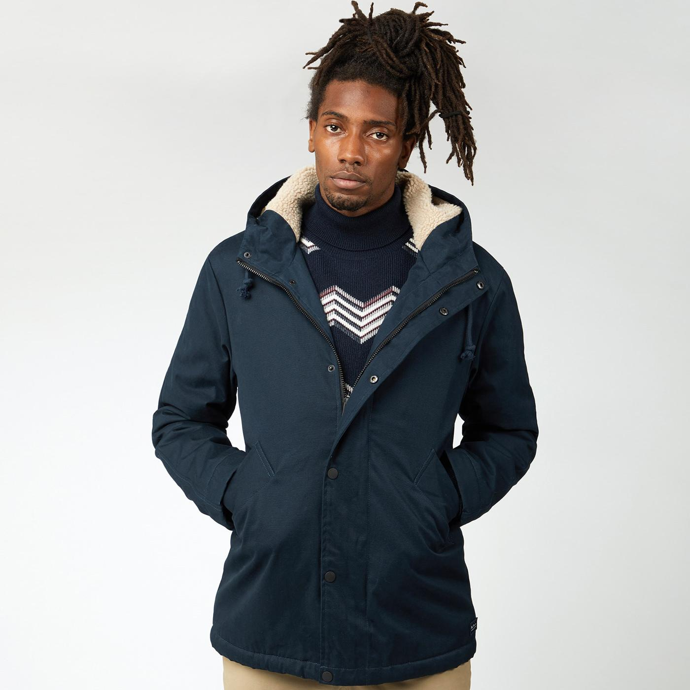 BEN SHERMAN Modern Cropped Sherpa Parka (Midnight)
