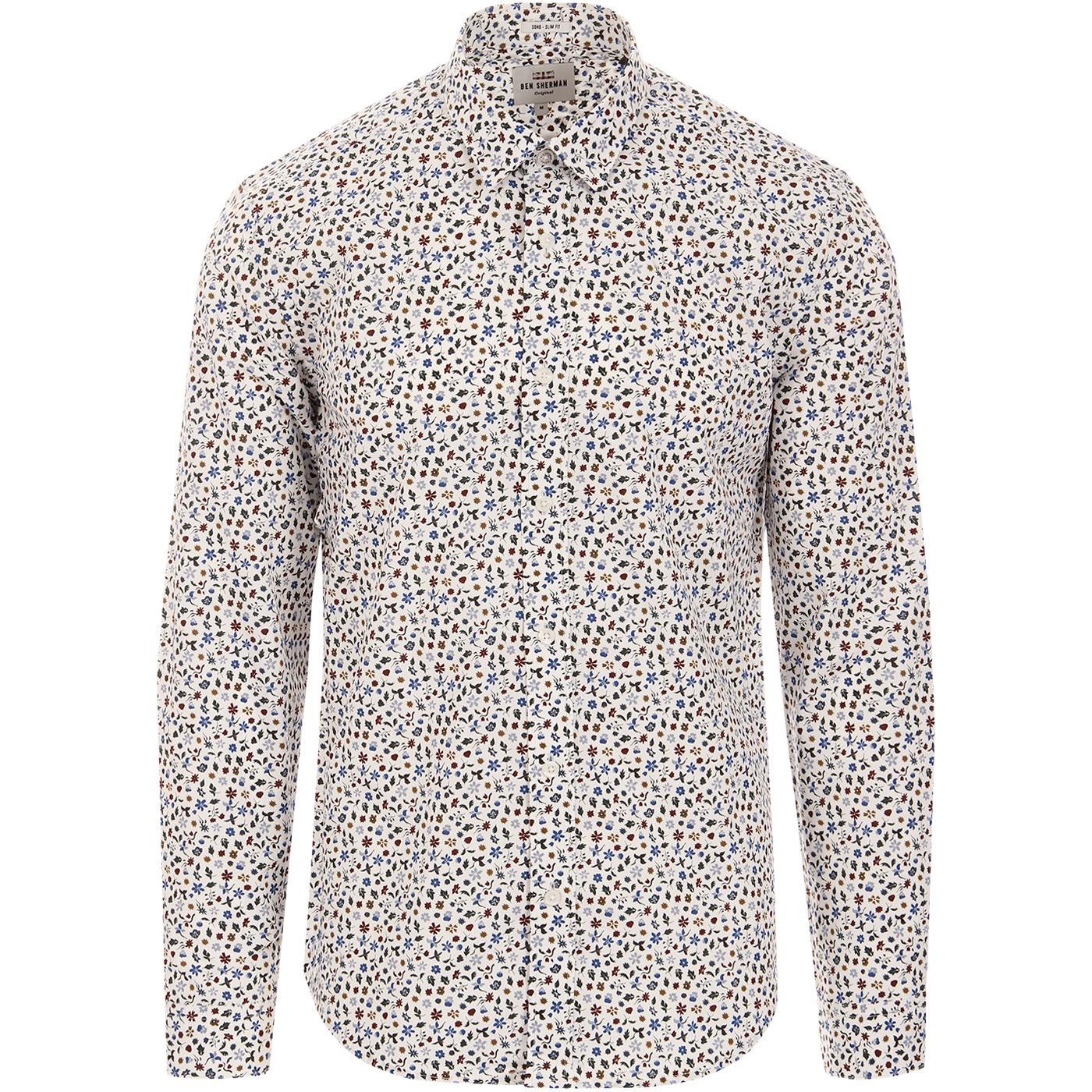 BEN SHERMAN Retro 60s Multi Floral Print Shirt OW