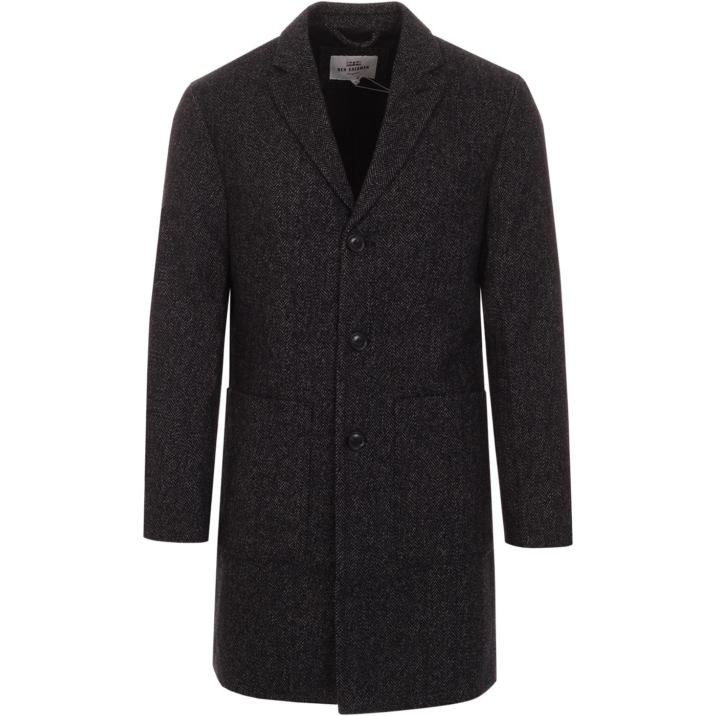 BEN SHERMAN Retro Mod Herringbone Overcoat (C)