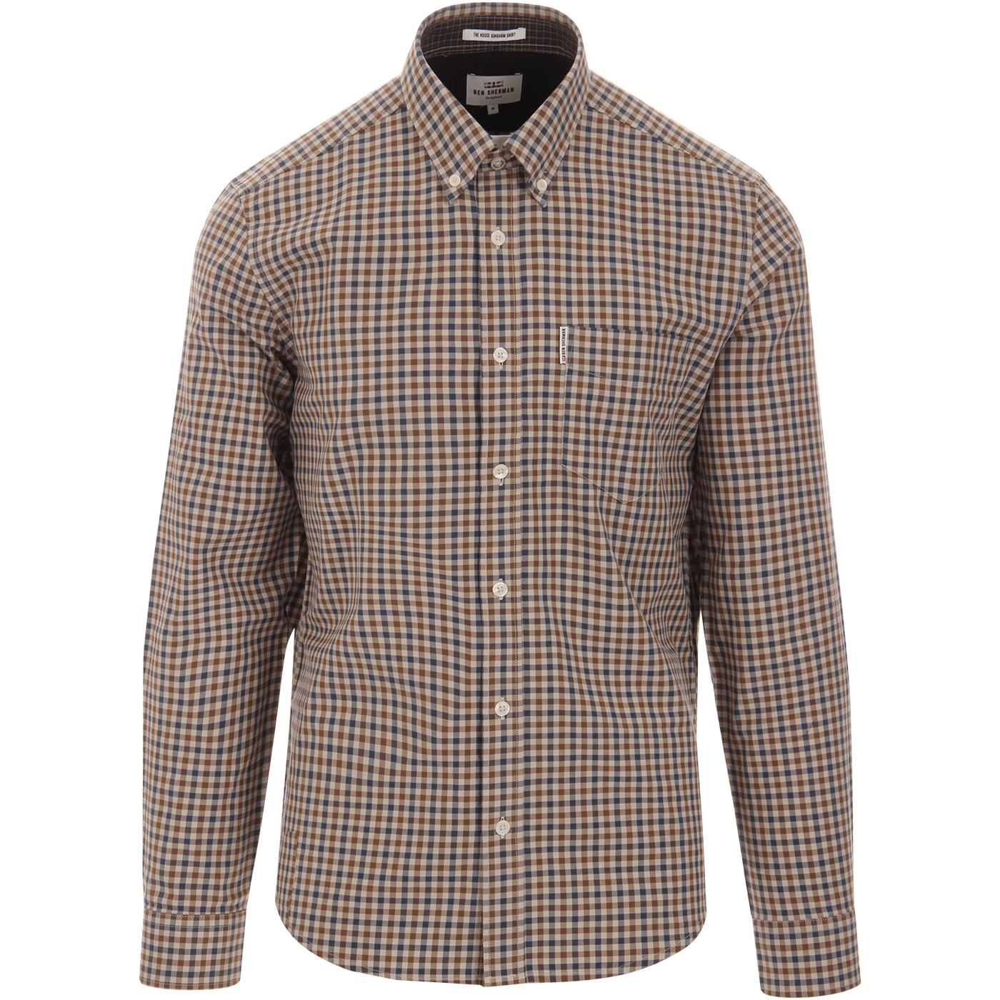 BEN SHERMAN Retro Mod House Check Gingham Shirt M