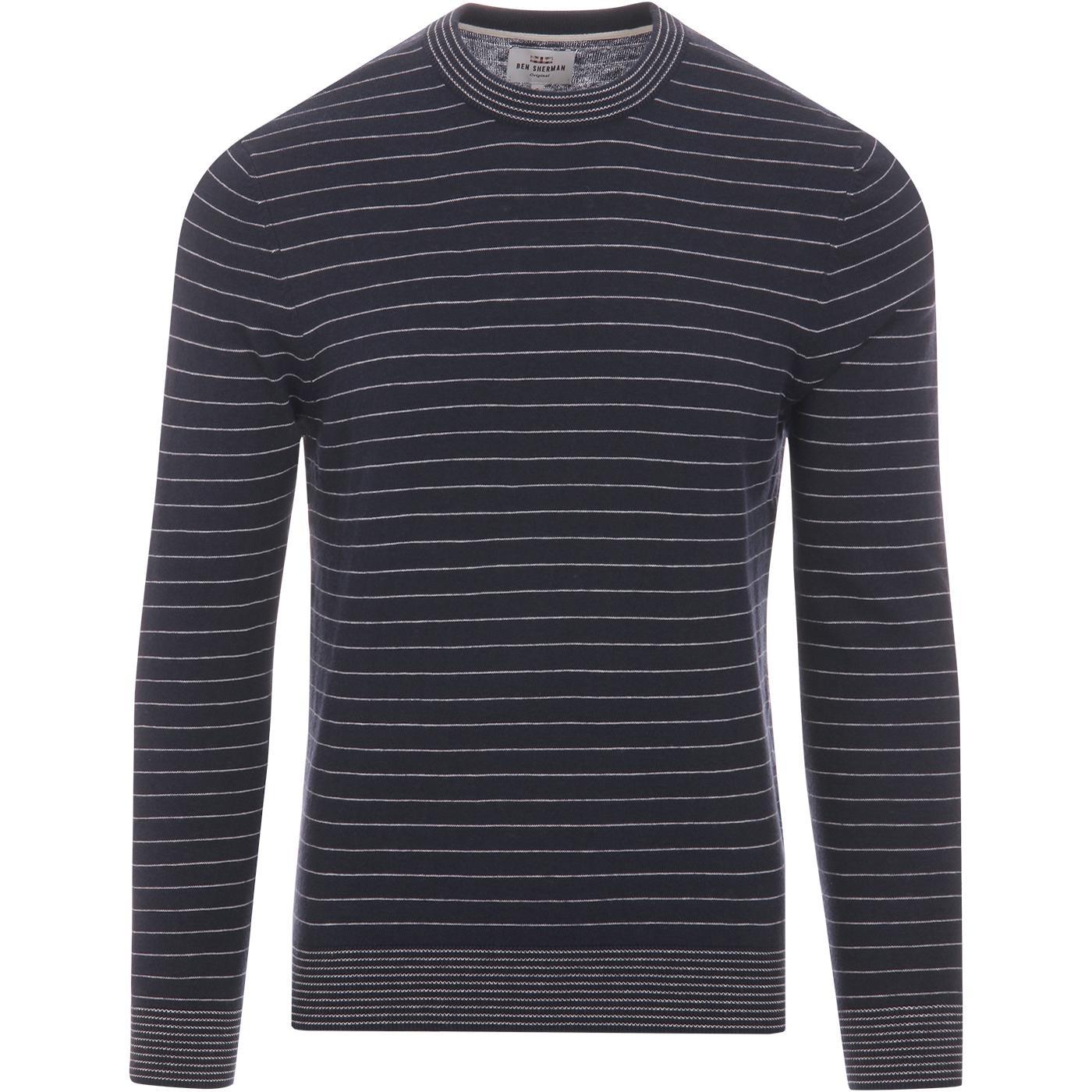 BEN SHERMAN Retro Mod Fine Stripe Knit Jumper (DN)
