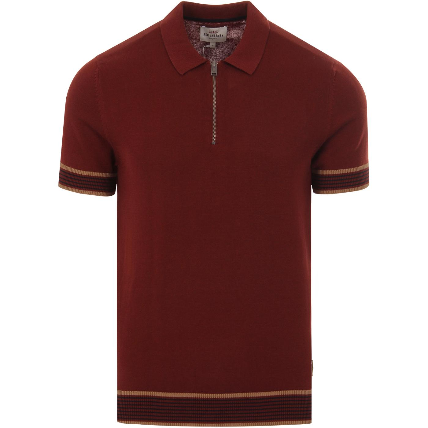 BEN SHERMAN 60s Mod Colour Block Knitted Polo C