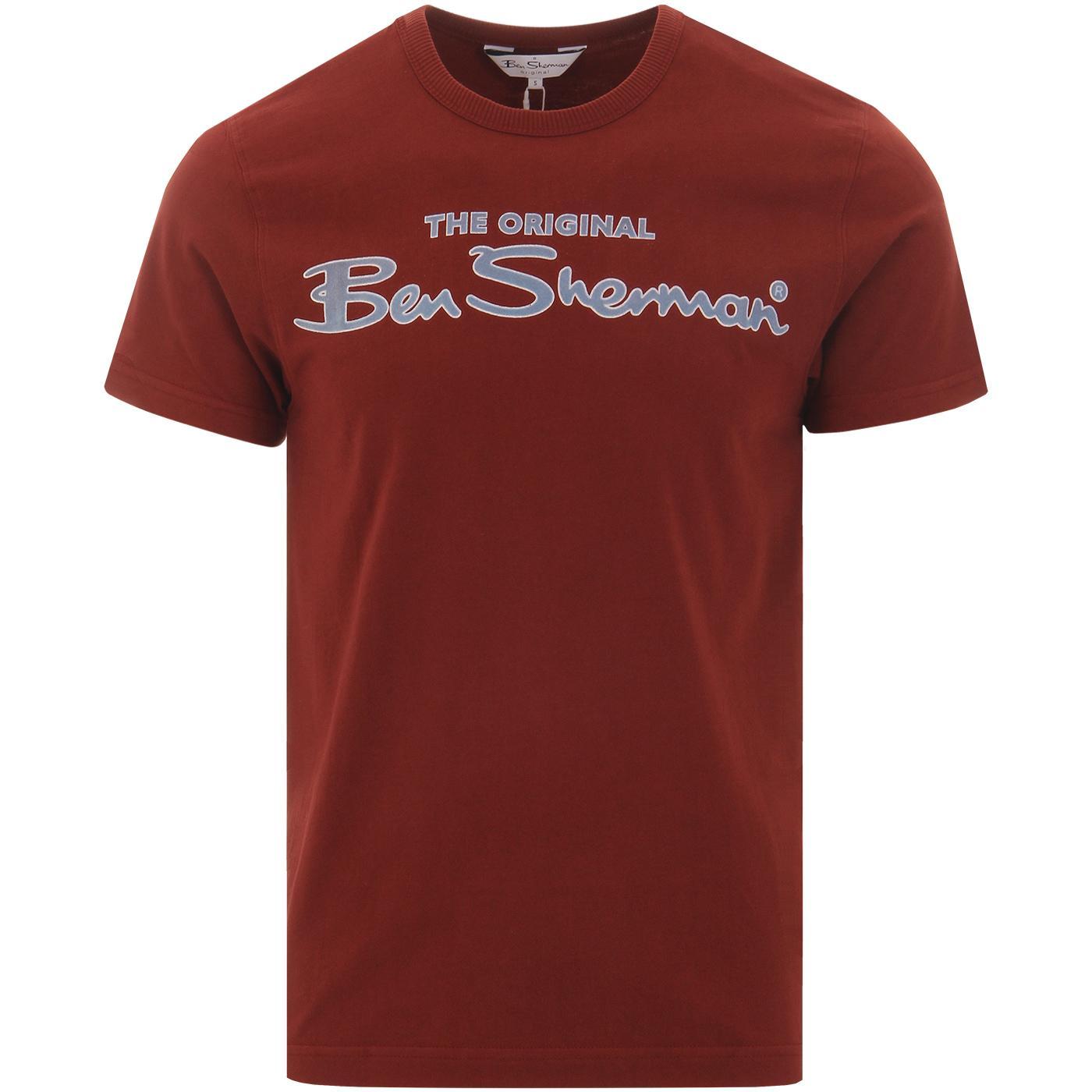 BEN SHERMAN Archive Retro Flock chest logo Tee C