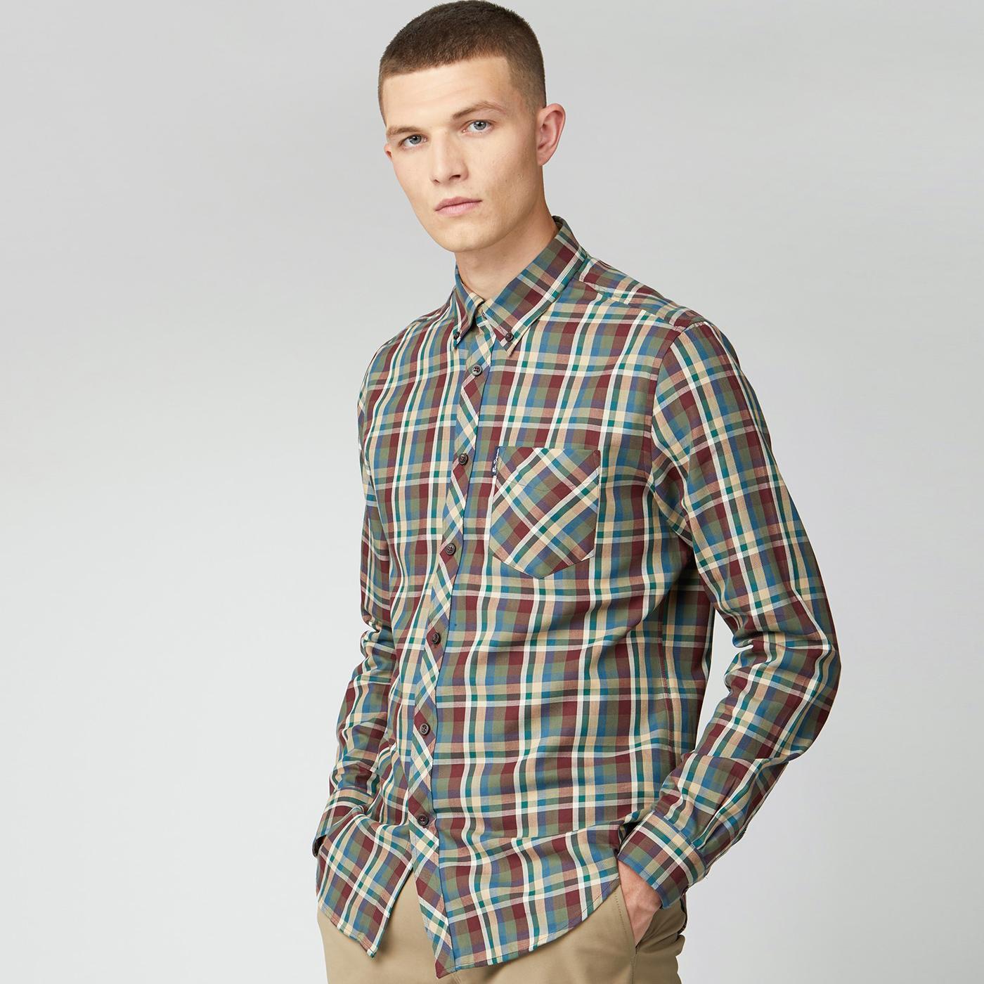 BEN SHERMAN Mod Winter Madras Check Shirt (Loden)