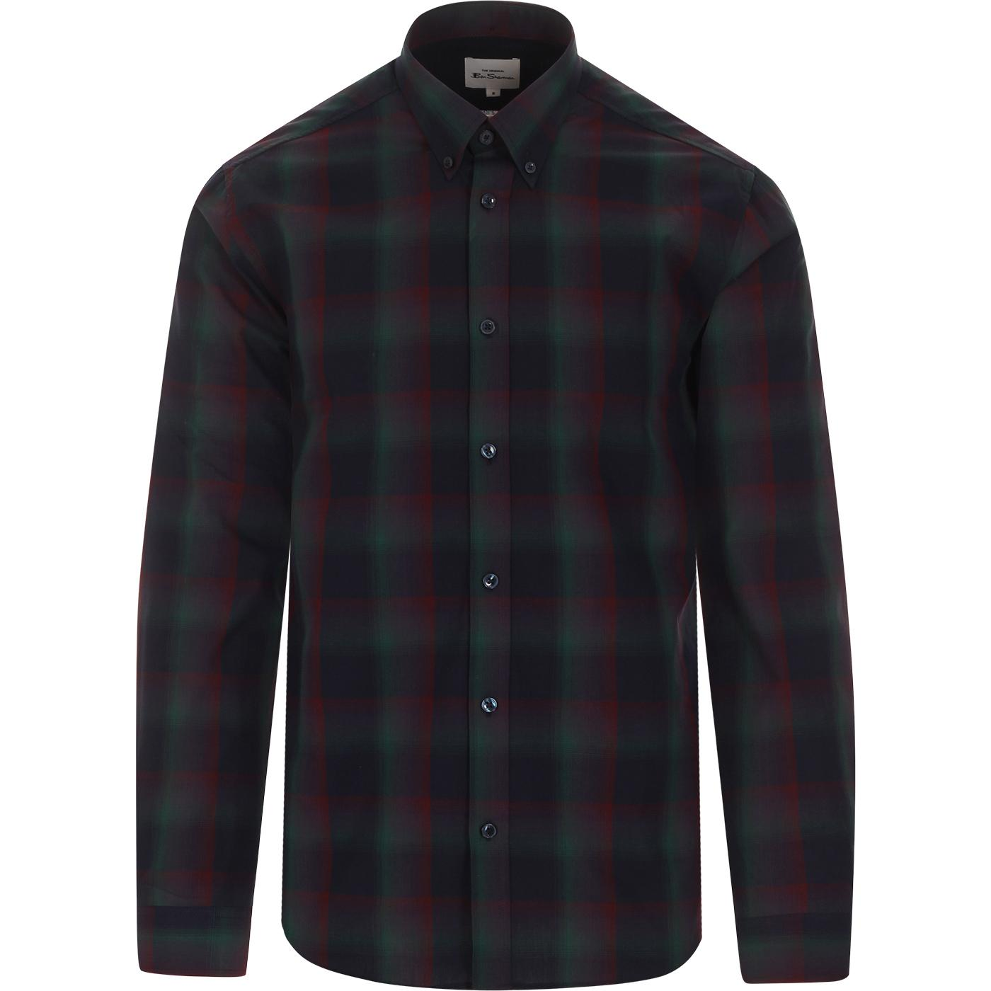 BEN SHERMAN 60s Mod Ombre Check Shirt (Navy)