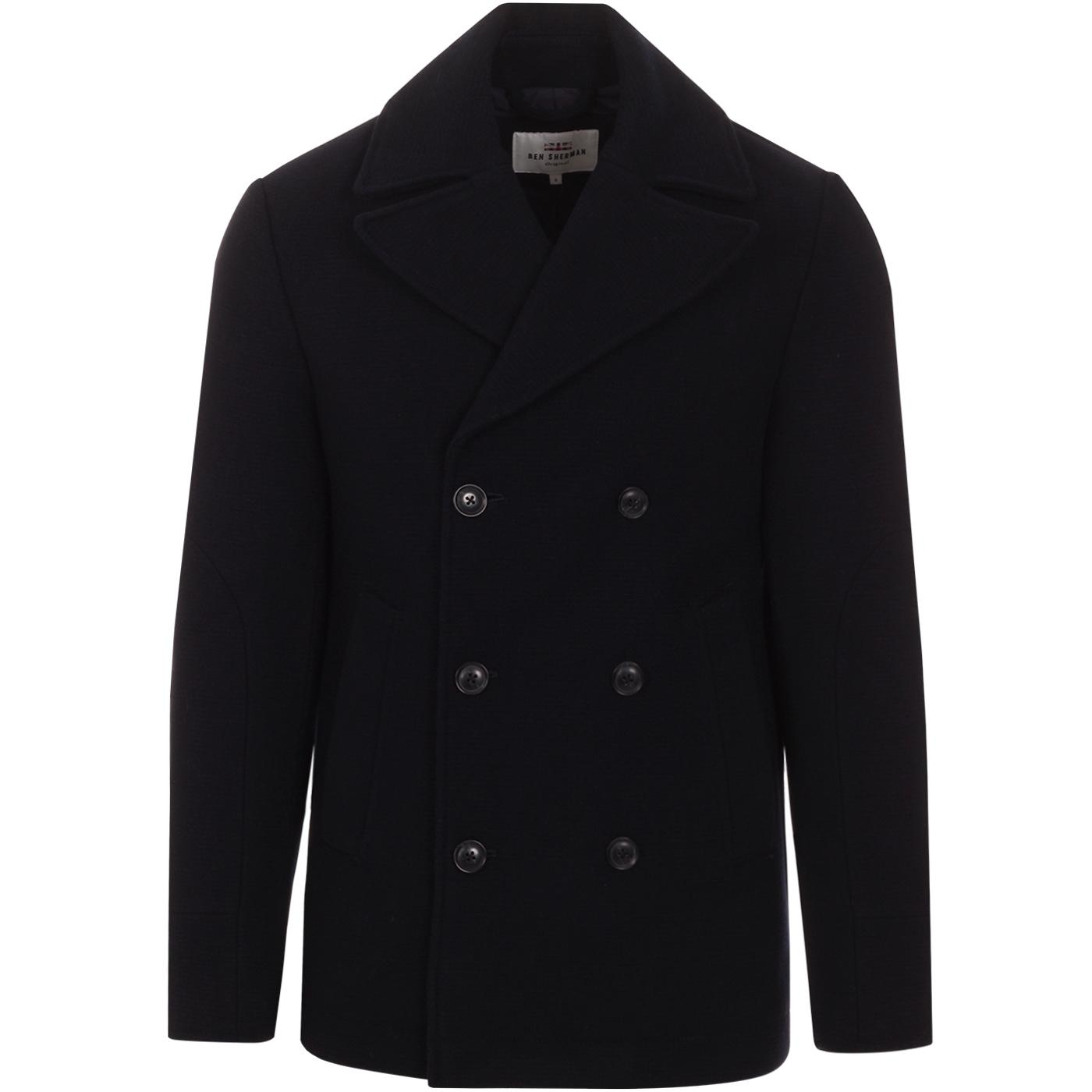 BEN SHERMAN Retro Mod Ribbed Melton Peacoat (M)