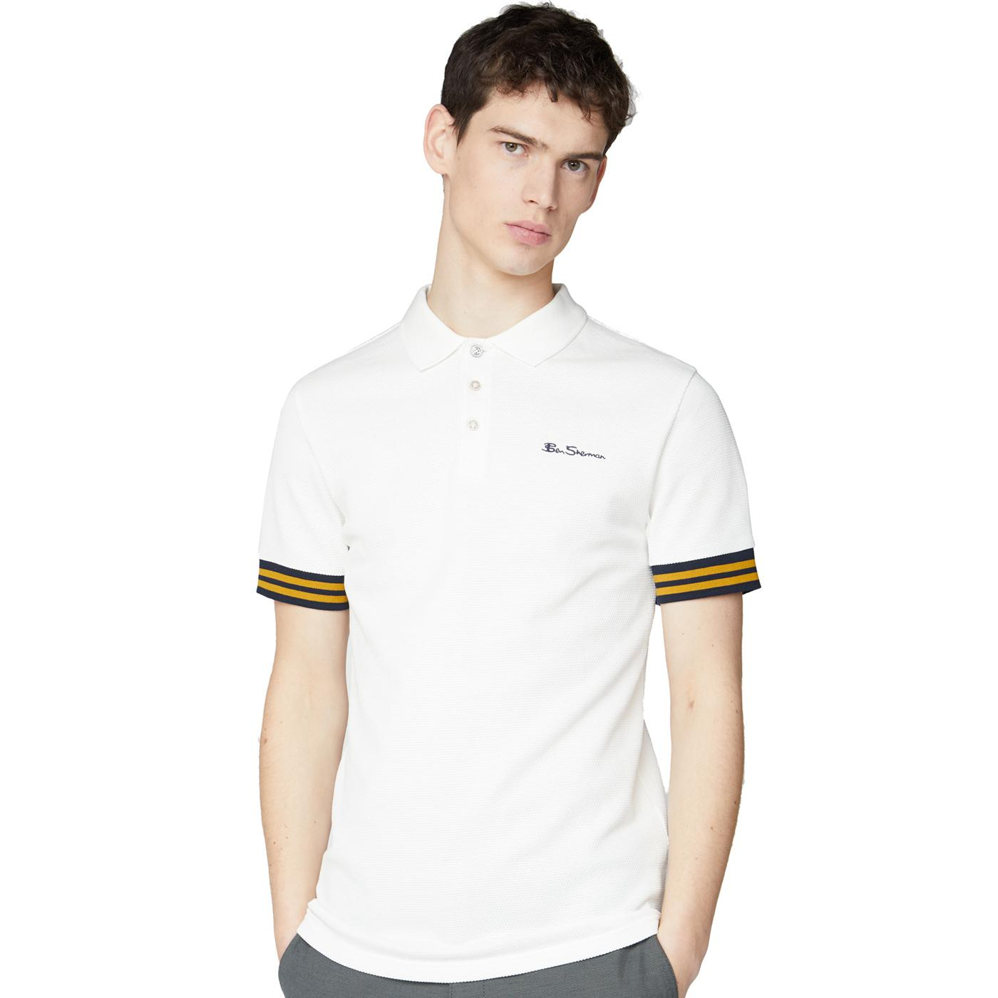 BEN SHERMAN Textured Pineapple Pique Polo Top (SW)