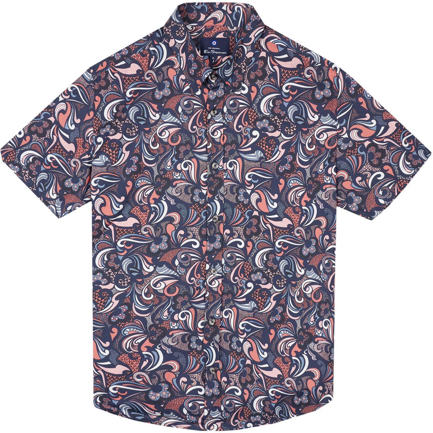 BEN SHERMAN 60s Mod SS Psychedelic Print Shirt