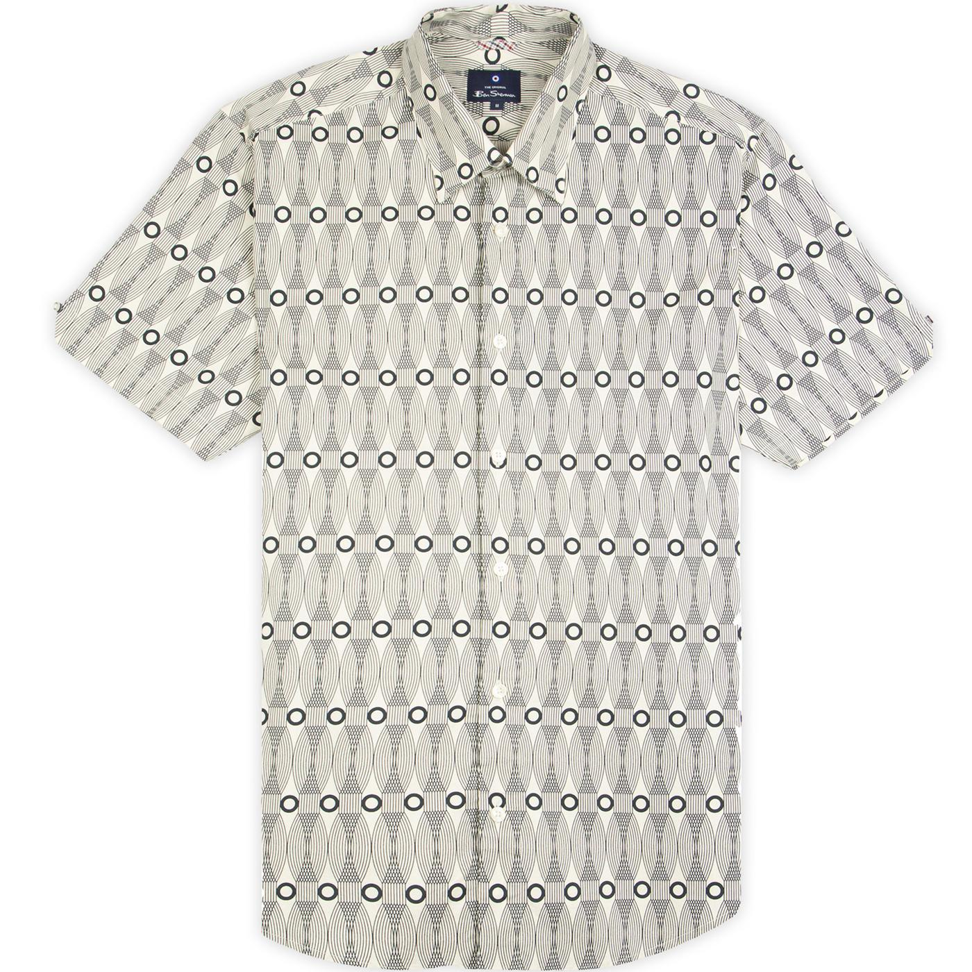 BEN SHERMAN Retro 60s Op Art Surf Print Shirt ECRU