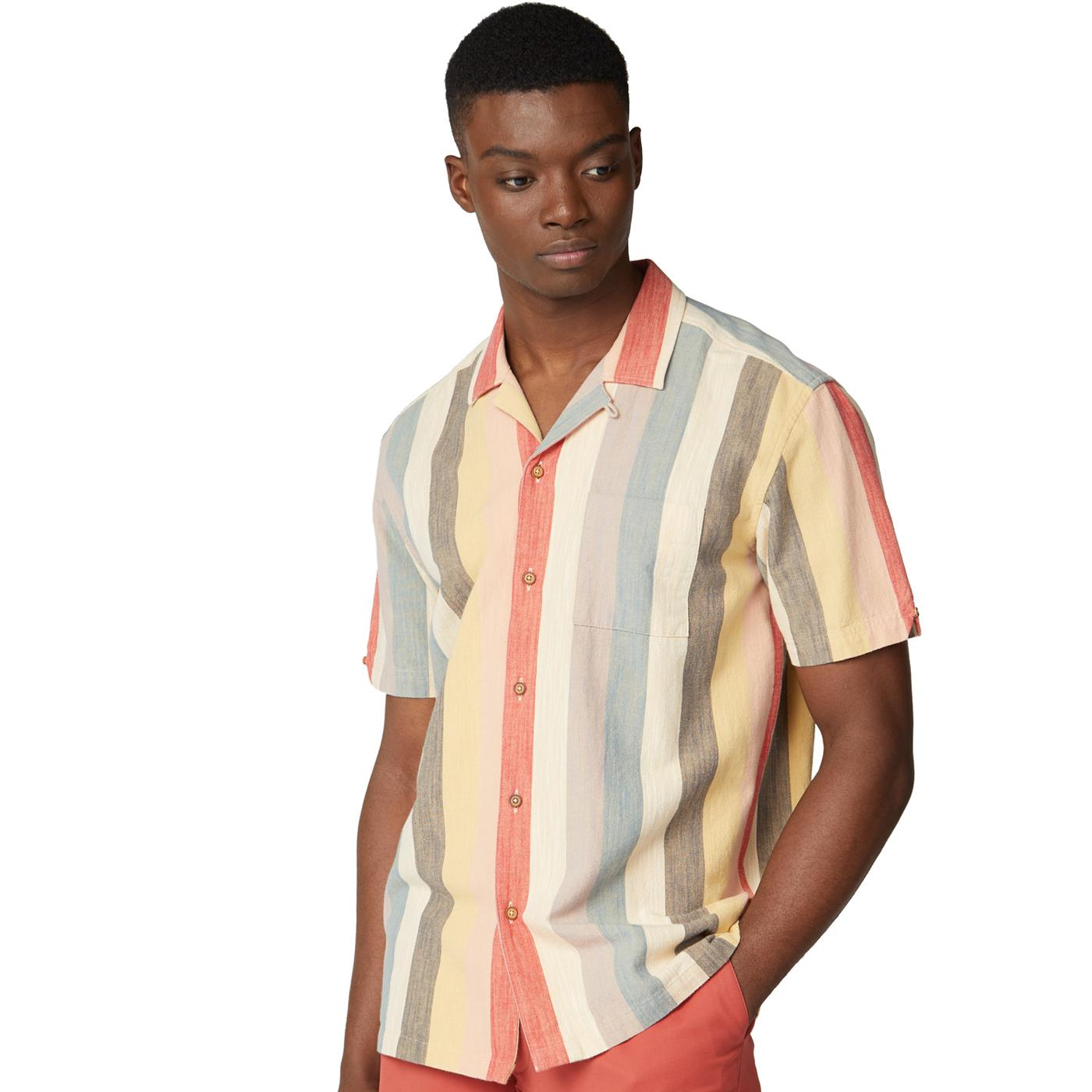 BEN SHERMAN Retro Revere Chambray Stripe SS Shirt