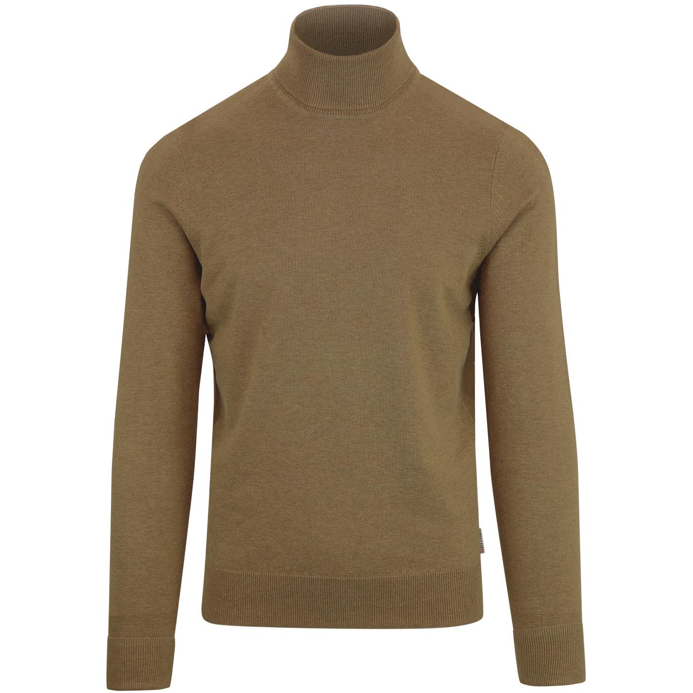 BEN SHERMAN Retro 60s Mod Roll Neck Jumper CAMEL