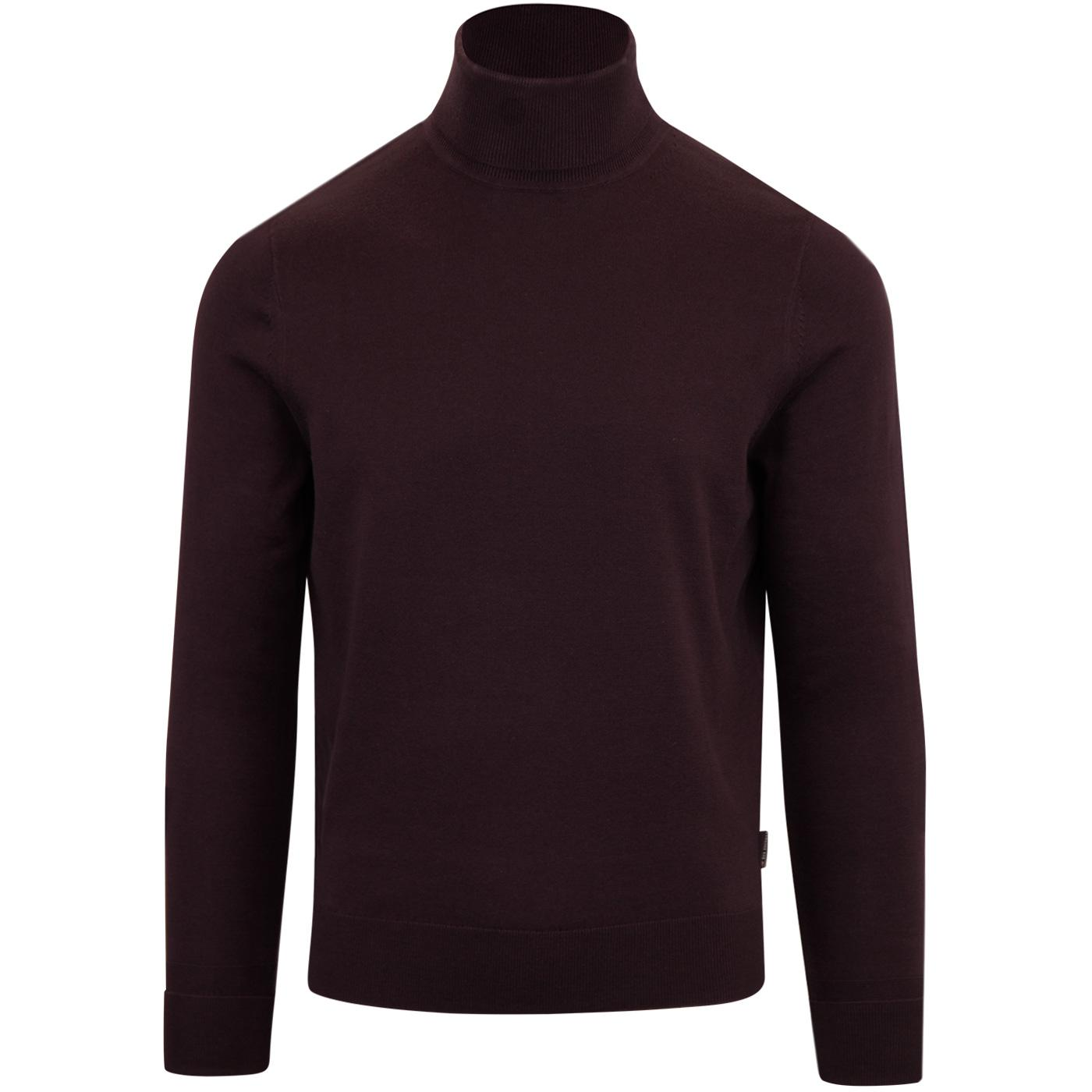 BEN SHERMAN Retro 60s Mod Roll Neck Jumper WINE