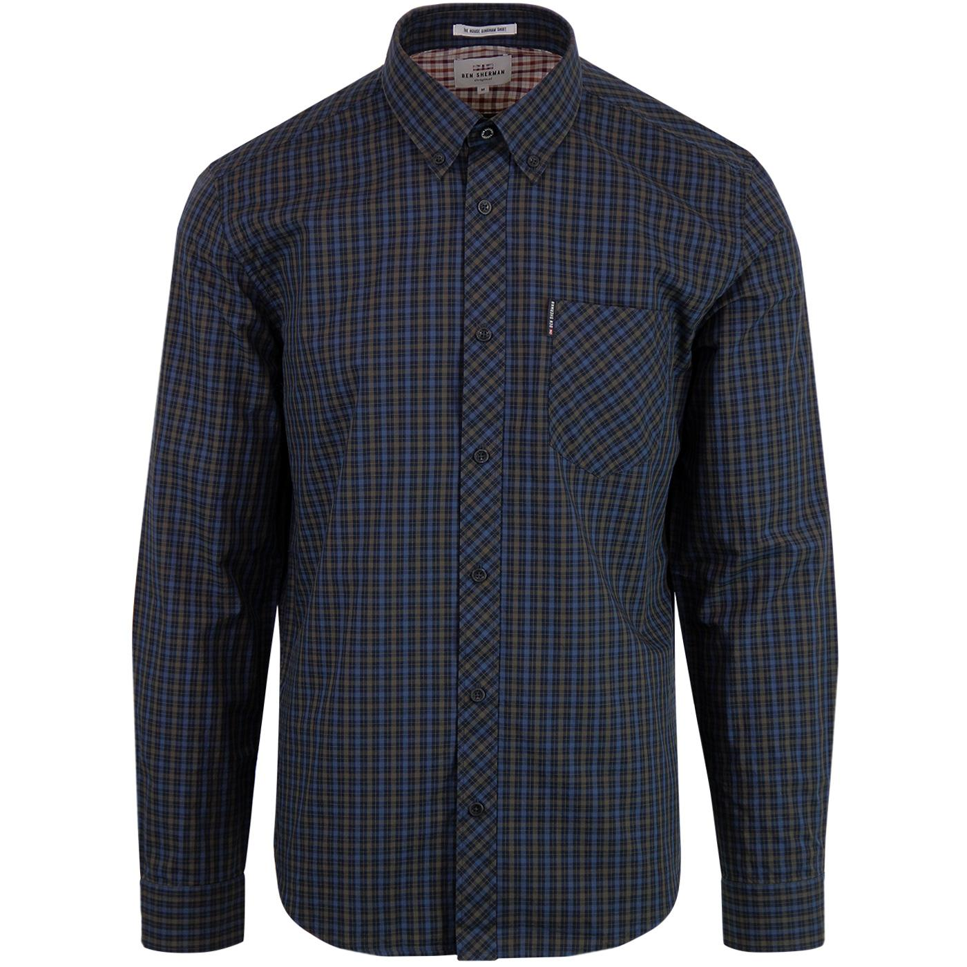 BEN SHERMAN Men's Retro Mod House Check Shirt BARK