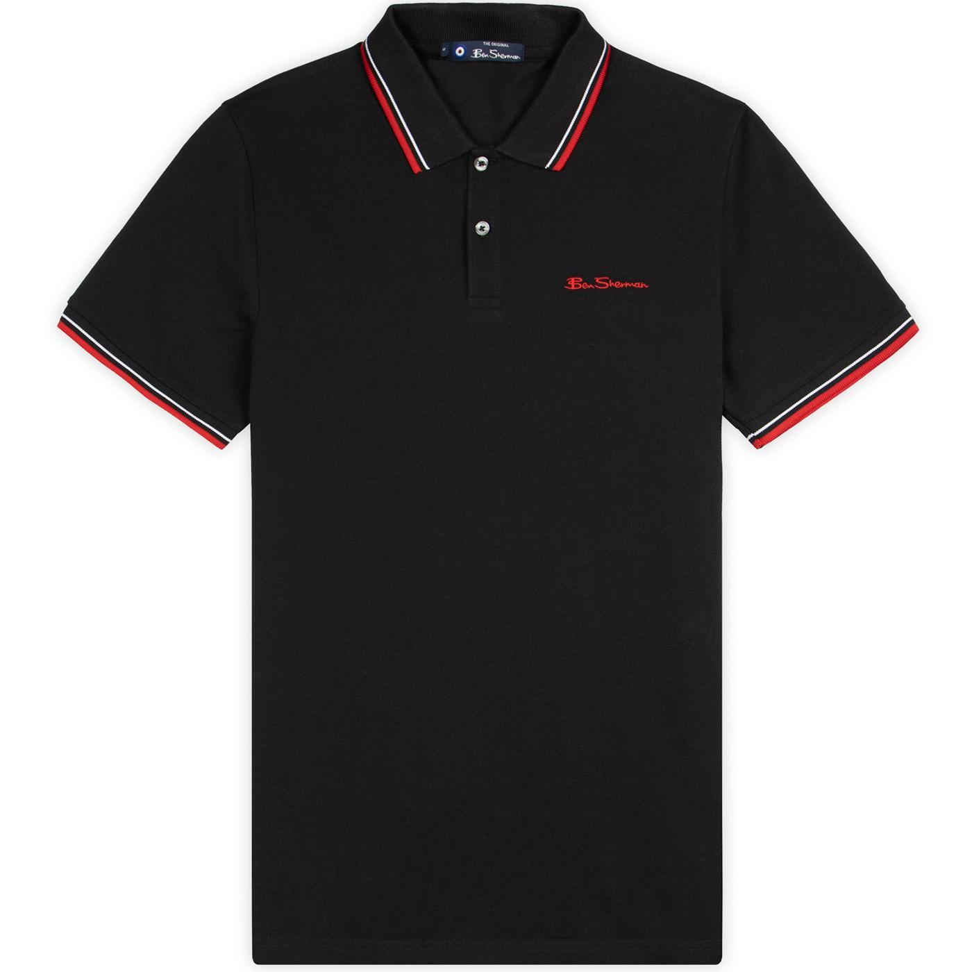 BEN SHERMAN Mod Tipped Signature Polo Top (Black)