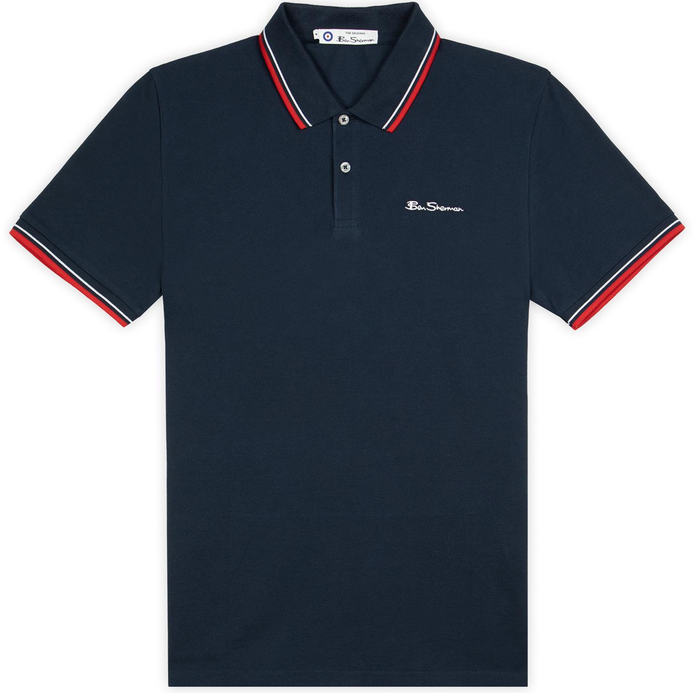 BEN SHERMAN Mod Tipped Signature Polo Top (Navy)