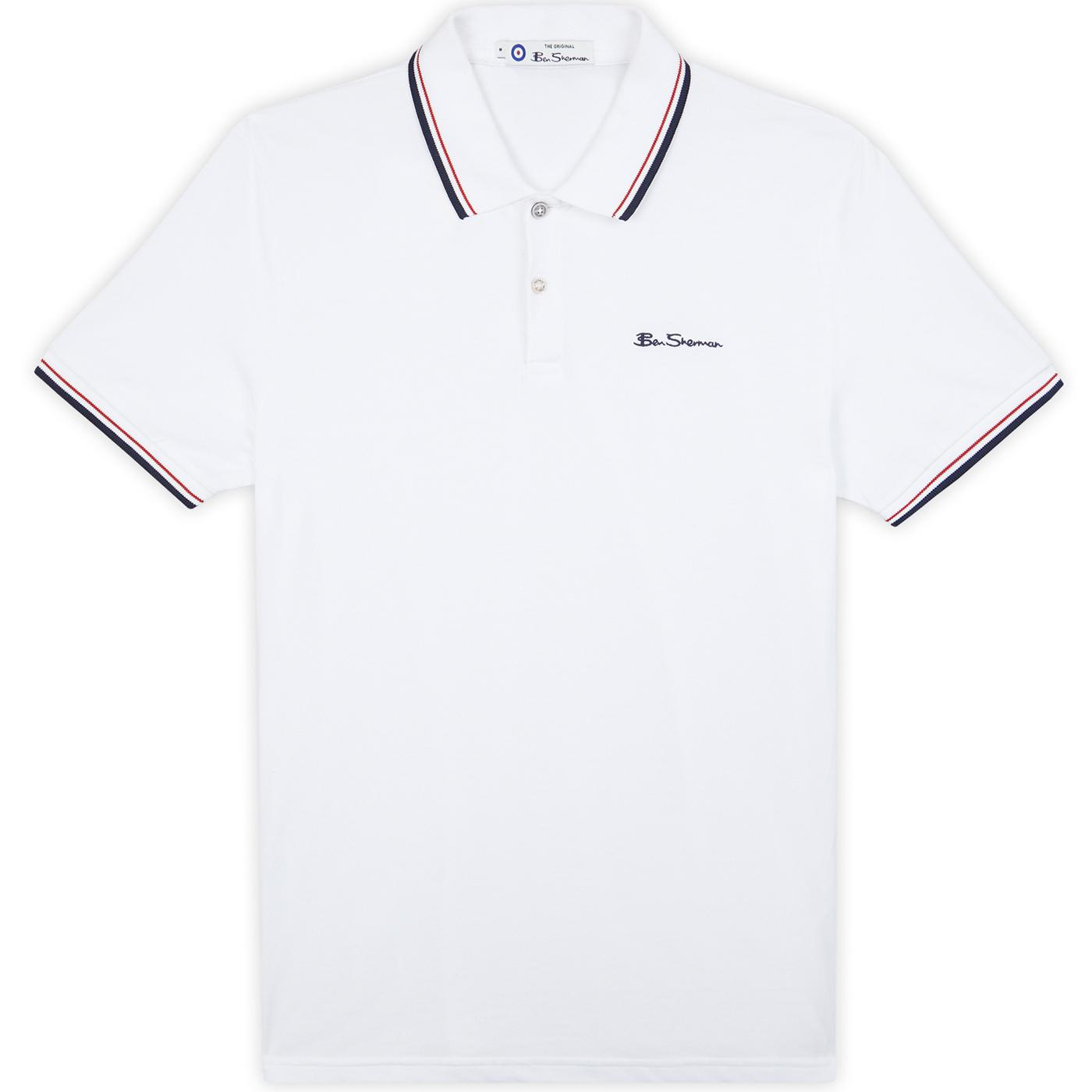 BEN SHERMAN Mod Tipped Signature Polo Top (White)