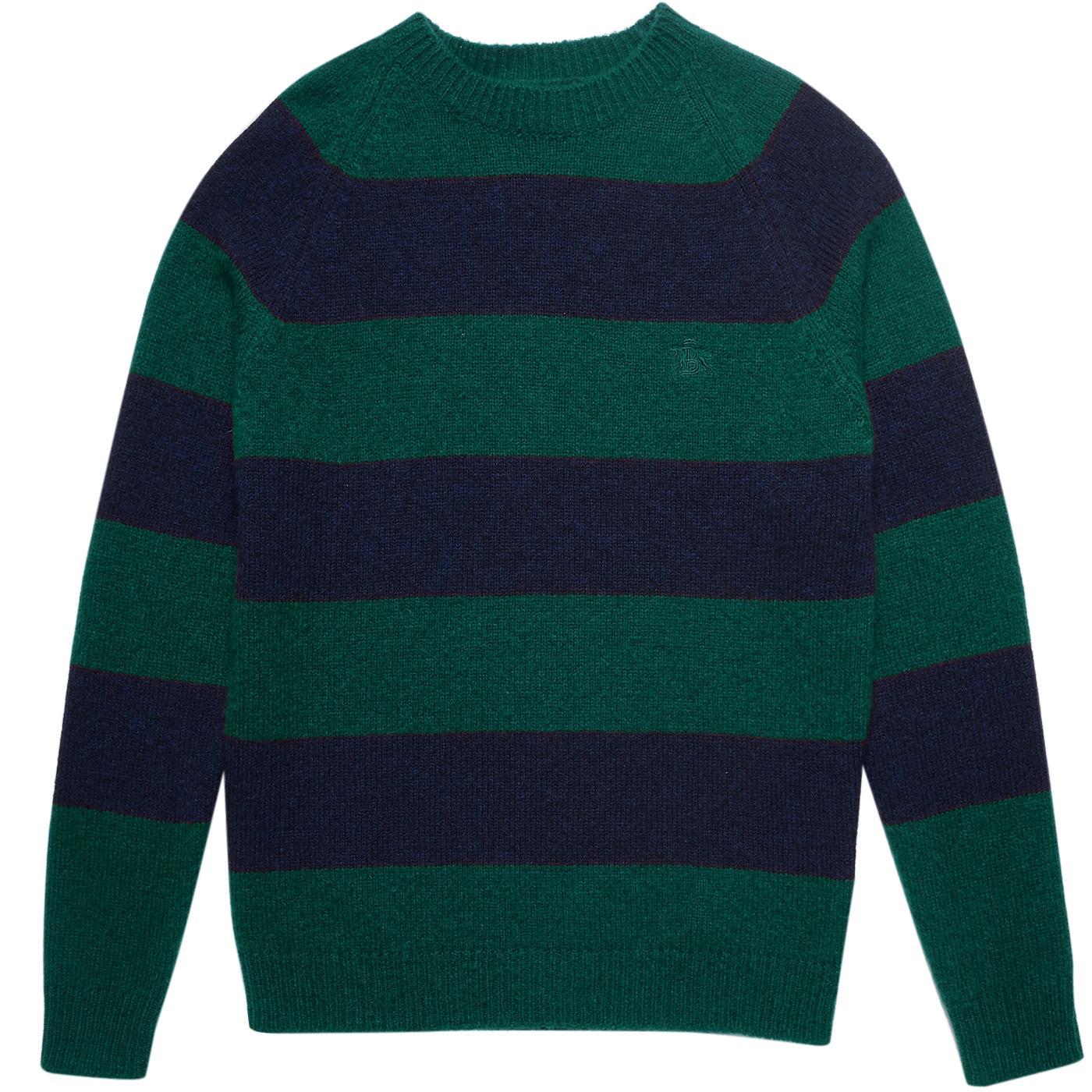 BARACUTA Mod Shetland Stripe Jumper (Green/Blue)