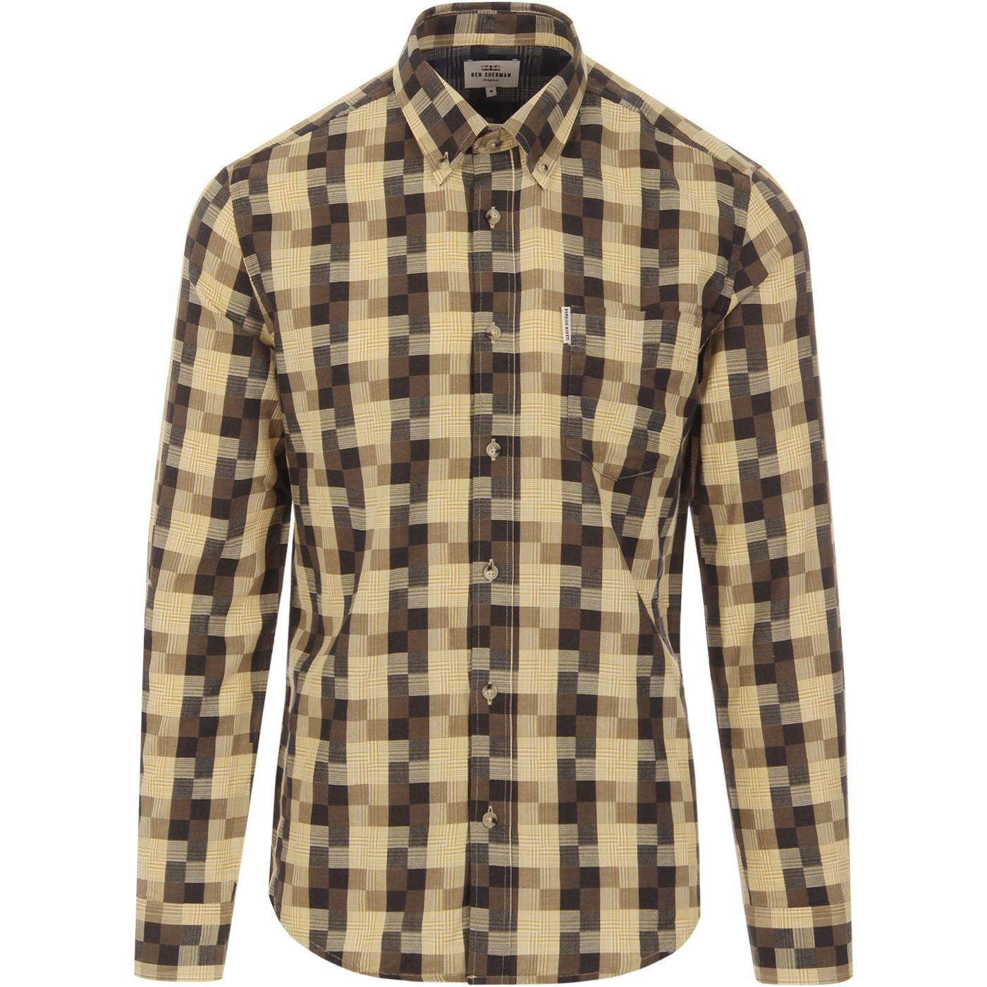 BEN SHERMAN Men's Retro Mod Textured Check Shirt