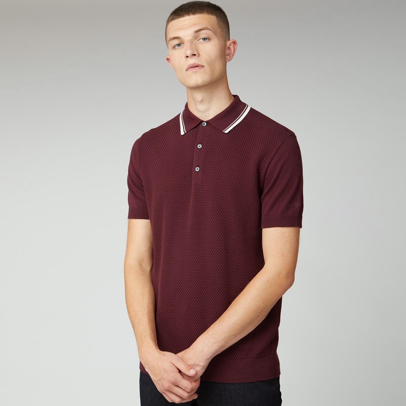 BEN SHERMAN Mod Waffle Textured Knit Polo Top PORT