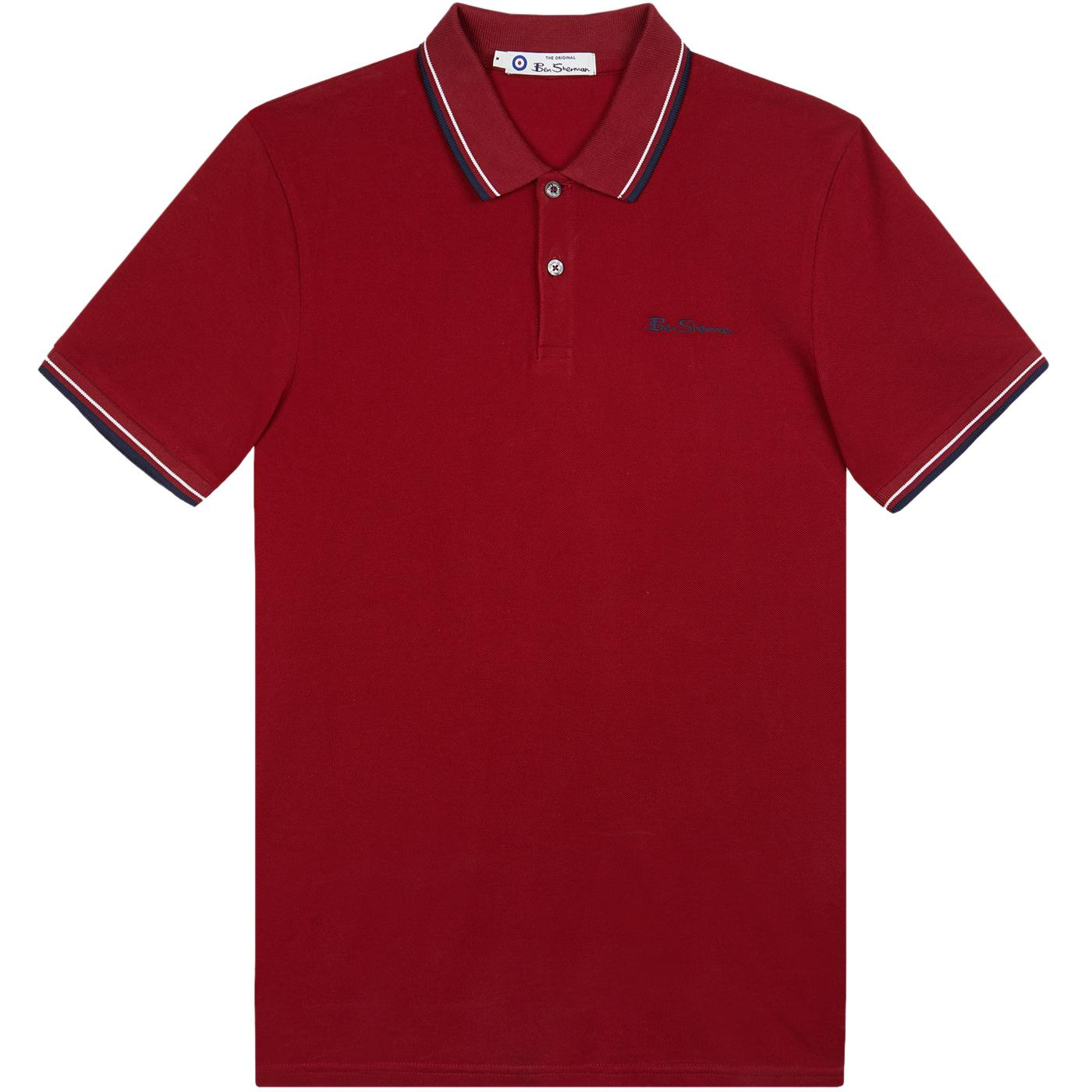 BEN SHERMAN Mod Tipped Signature Polo Top (Red)