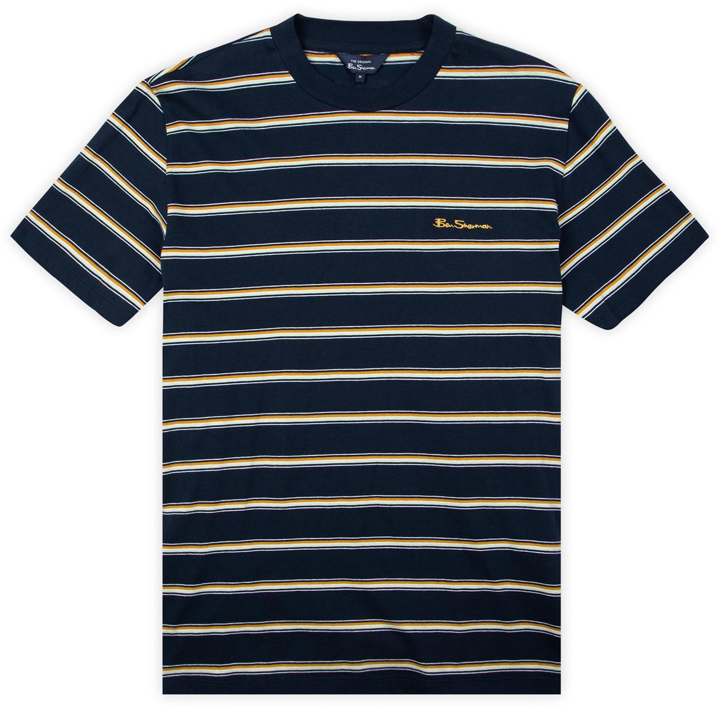 BEN SHERMAN Vintage Yarn Dye Mod Stripe Tee (Navy)