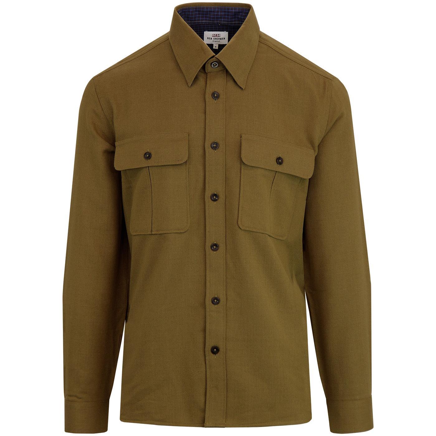 BEN SHERMAN Retro Textured Wool Utility Overshirt