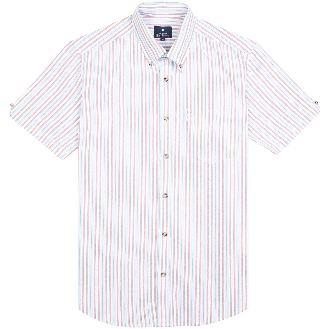 BEN SHERMAN Mod Stripe Yarn Dyed Oxford Shirt SKY