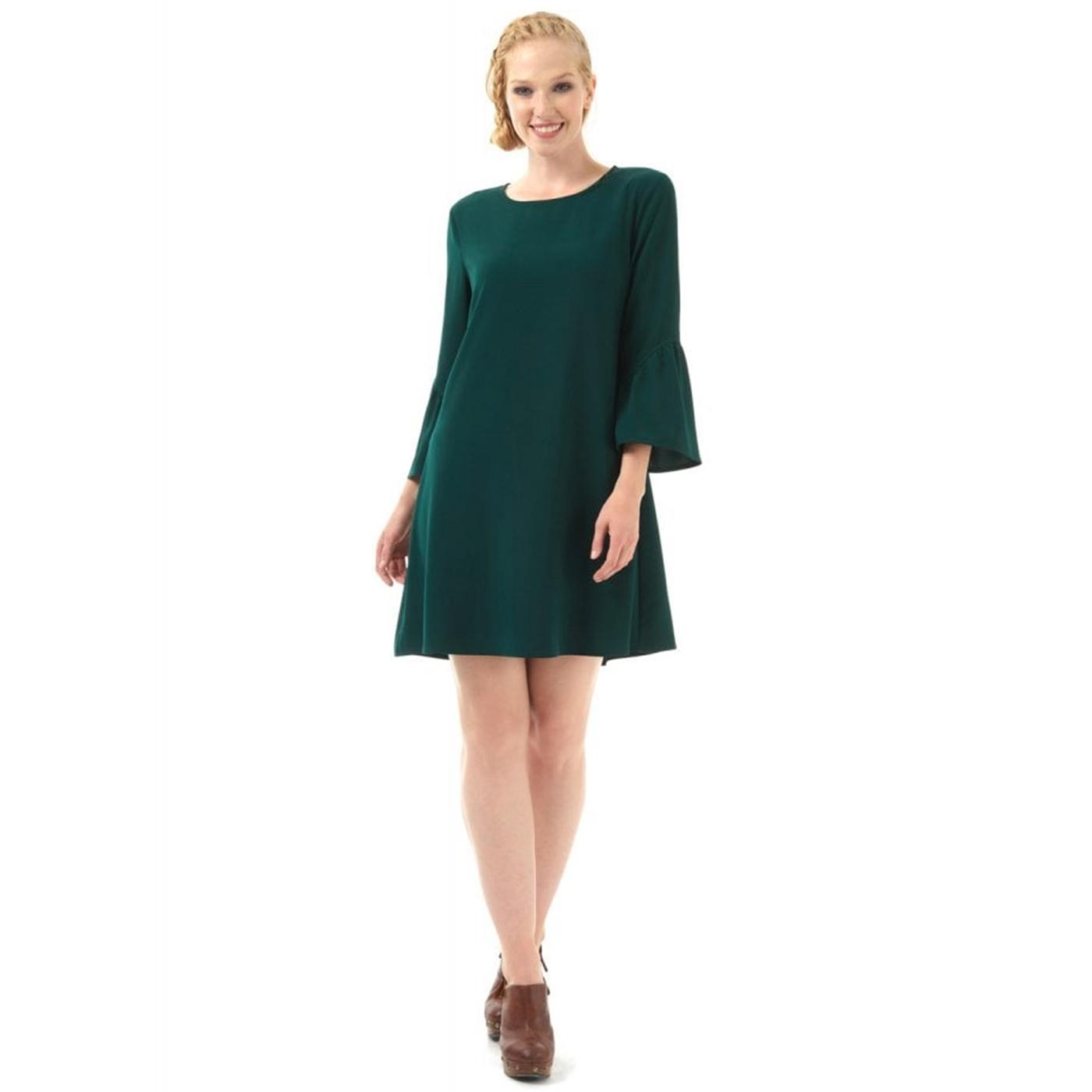 Greta BRIGHT & BEAUTIFUL Retro Plain Dress Green