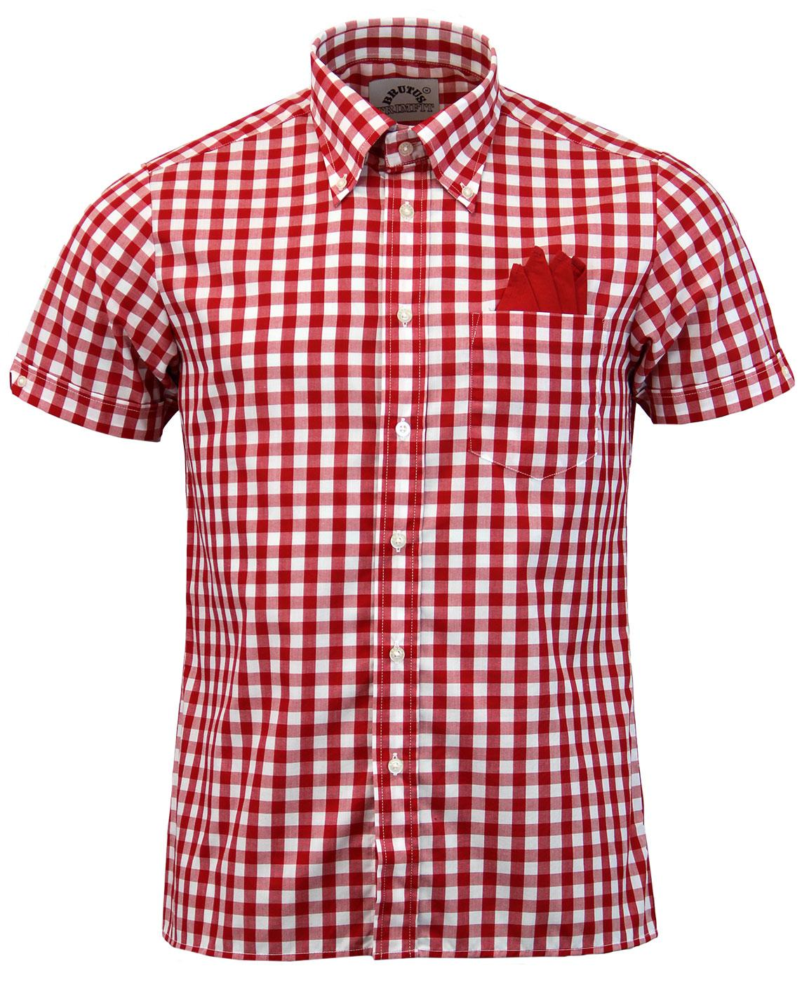 BRUTUS TRIMFIT Retro Mod 60s Large Gingham Shirt