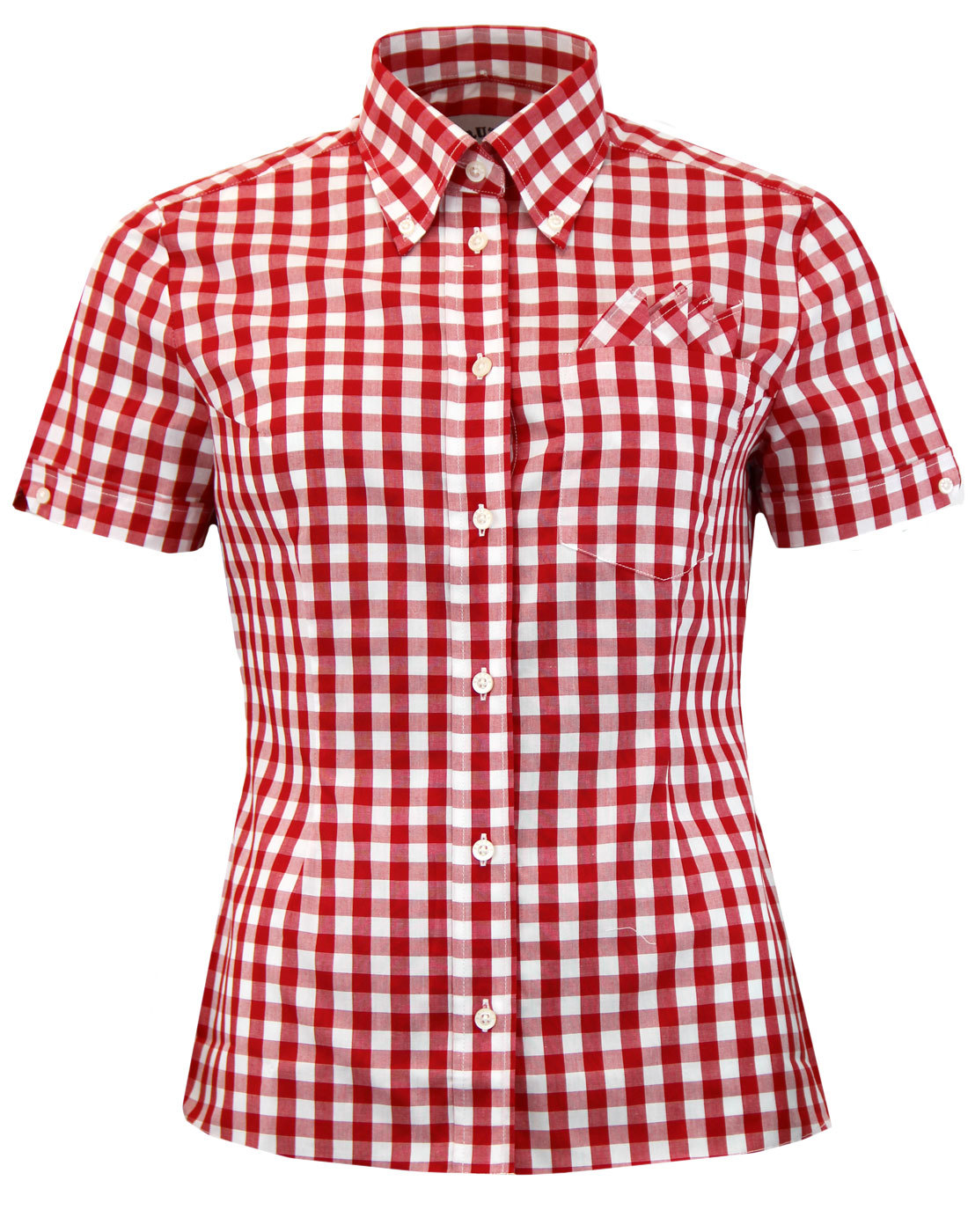 Brutus trimfit women 39 s mod button down gingham check shirt for Red and white gingham shirt women s